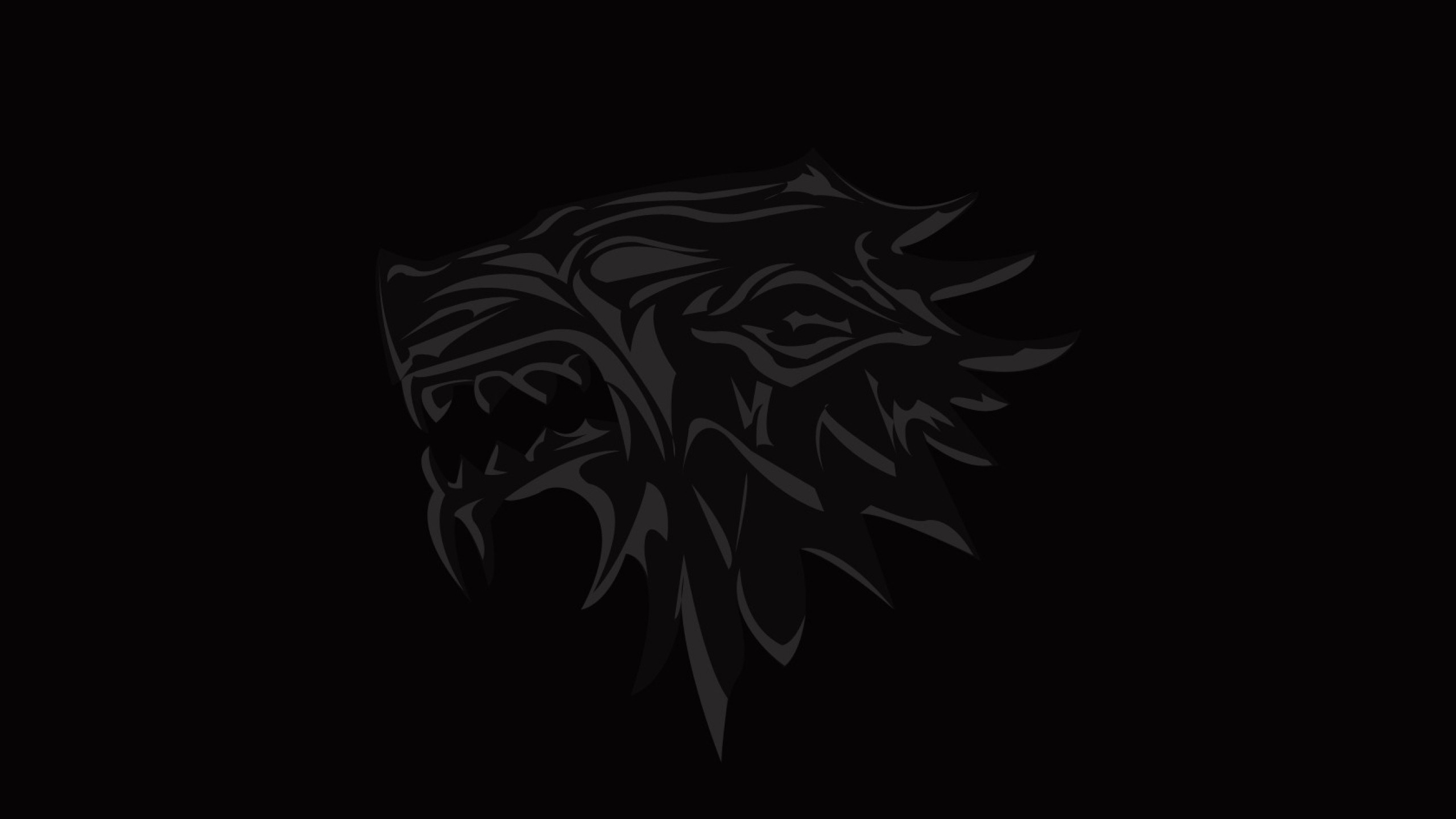 2560x1440  Wallpaper house of stark, game of thrones, logo, emblem, wolf