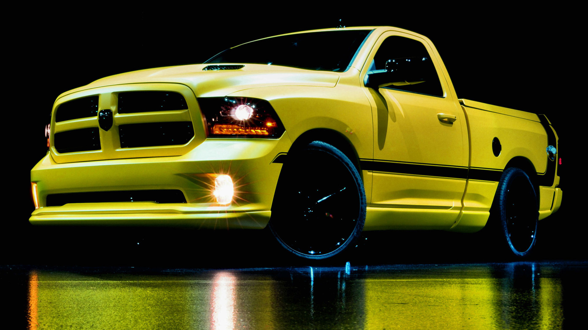 1920x1080 2014 Ram 1500 Rumble Bee Concept Black Background Cars Dodge Reflections  Trucks Vehicles Yellow ...