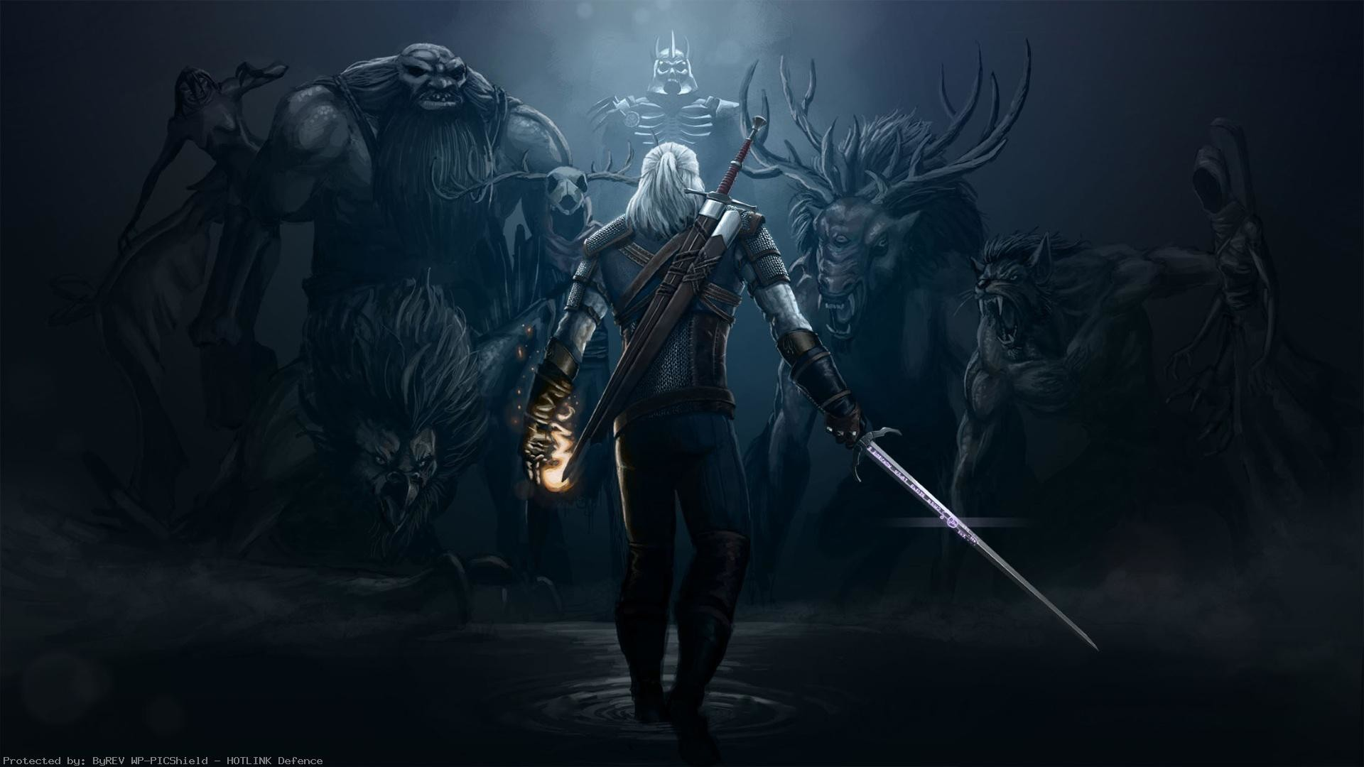 1920x1080 geralt-opposition-monster-the-witcher-wild-hunt--