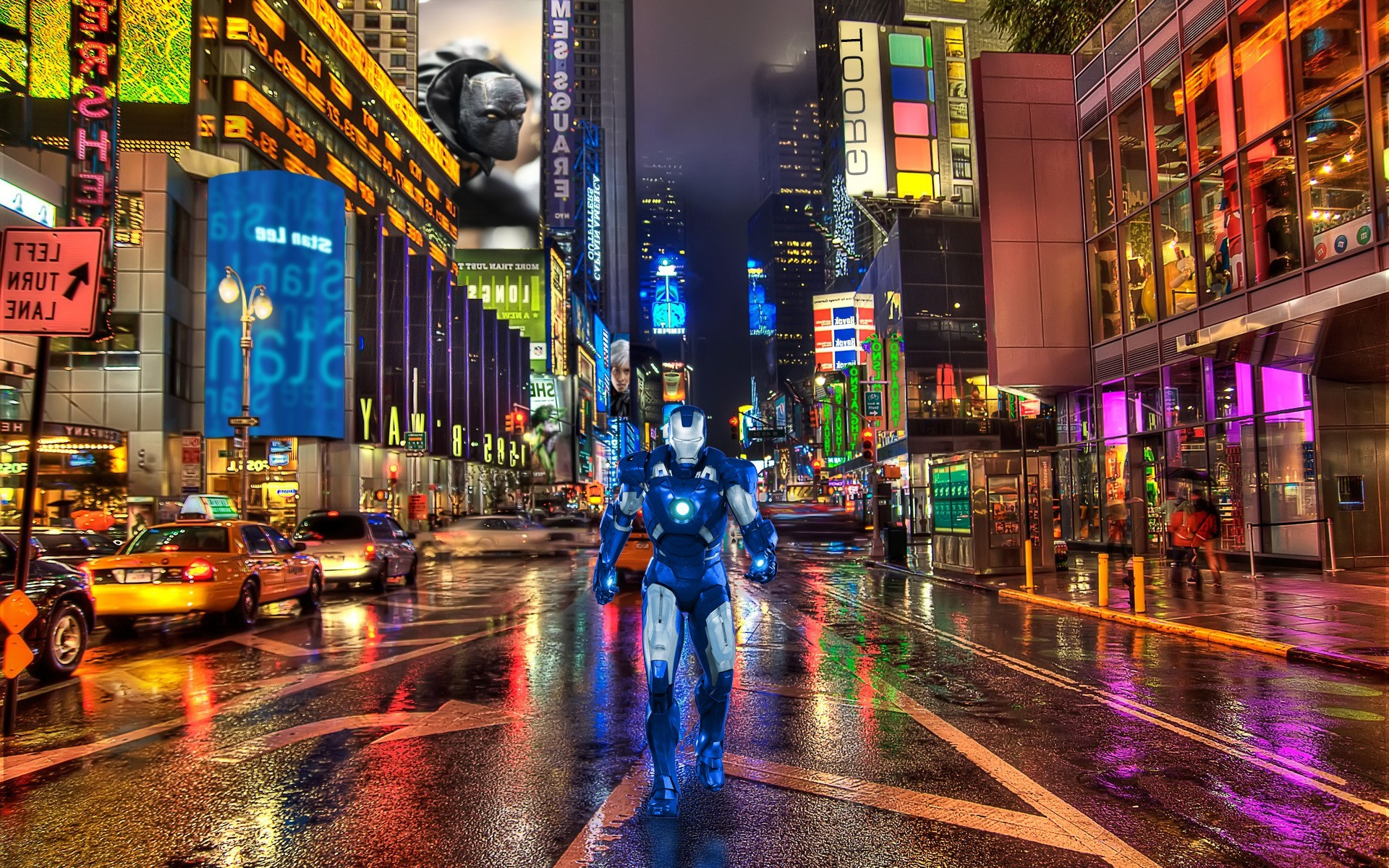 1920x1200 Iron Man, New York City, Times Square, Marvel Comics Wallpapers HD /  Desktop and Mobile Backgrounds