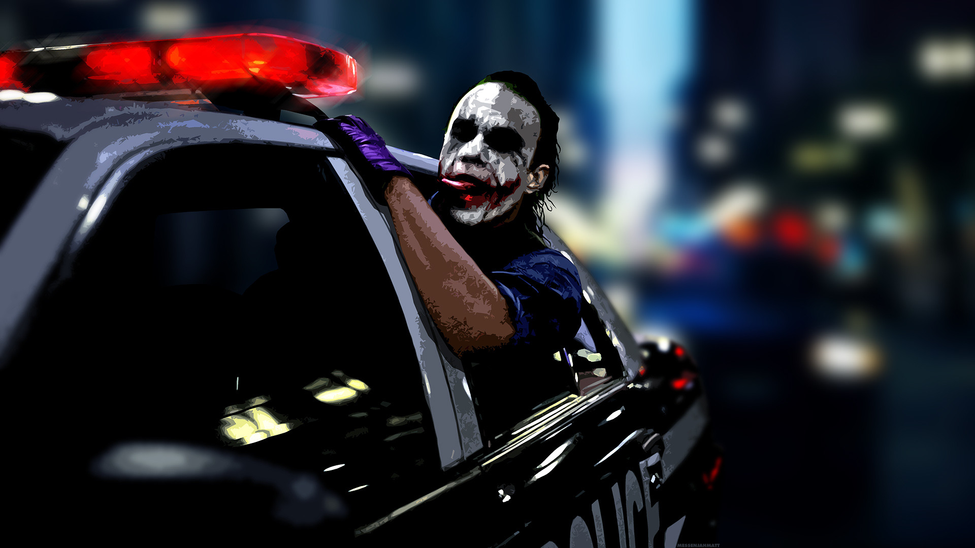 1920x1080 The Joker Wallpaper  The, Joker, Heath, Ledger, Police, Cars .