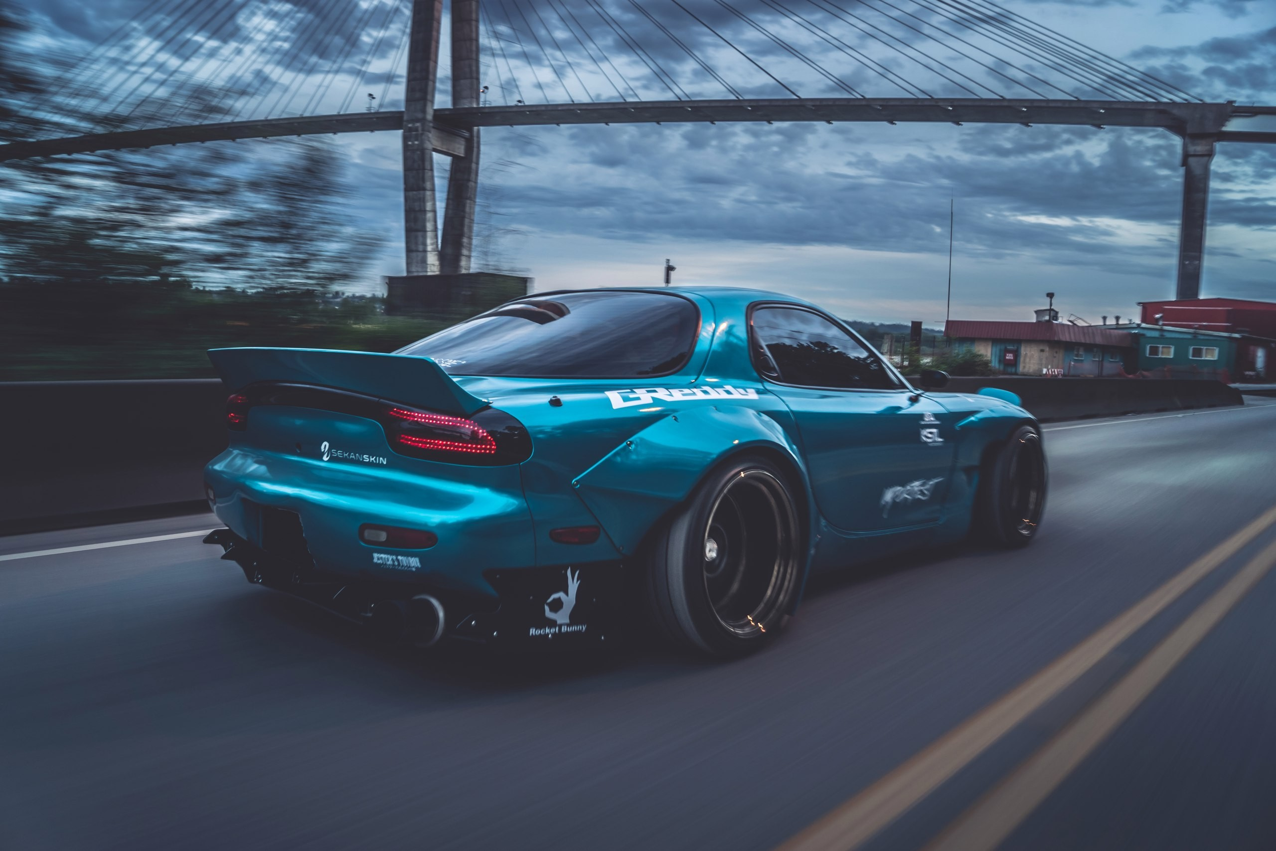 2560x1707  sports car Mazda RX-7 Mazda blue cars bridge Rocket Bunny