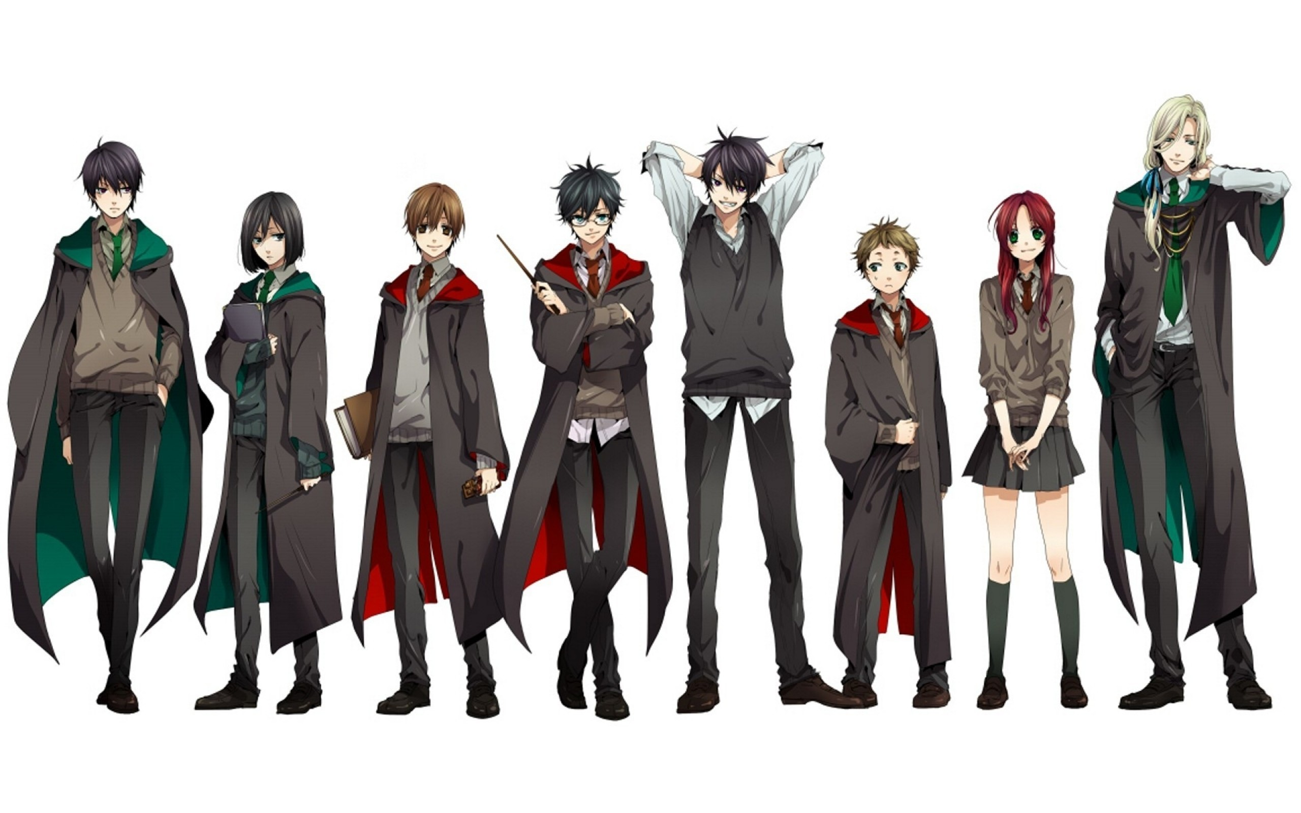 2560x1600 harry potter sirius black anime students gryffindor severus snape lucius  malfoy white background sly Art HD