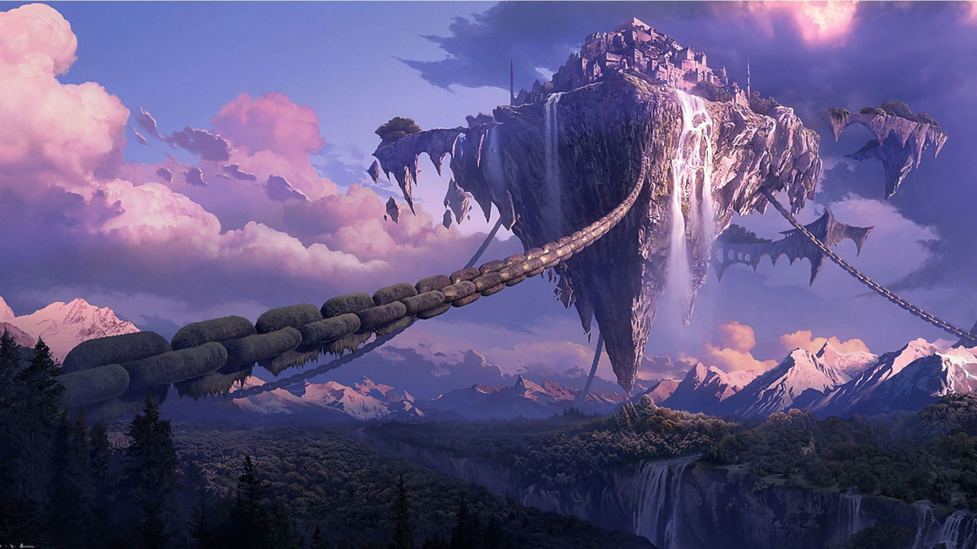 1920x1080 General  chains landscape Tera online digital art anime waterfall  fantasy art forest mountain floating island