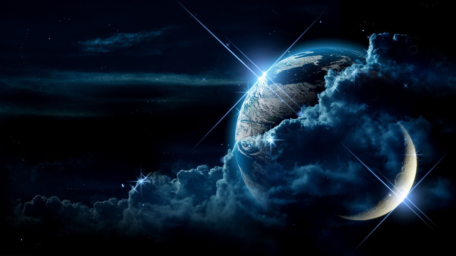 1920x1080 Preview wallpaper planet, clouds, light, star