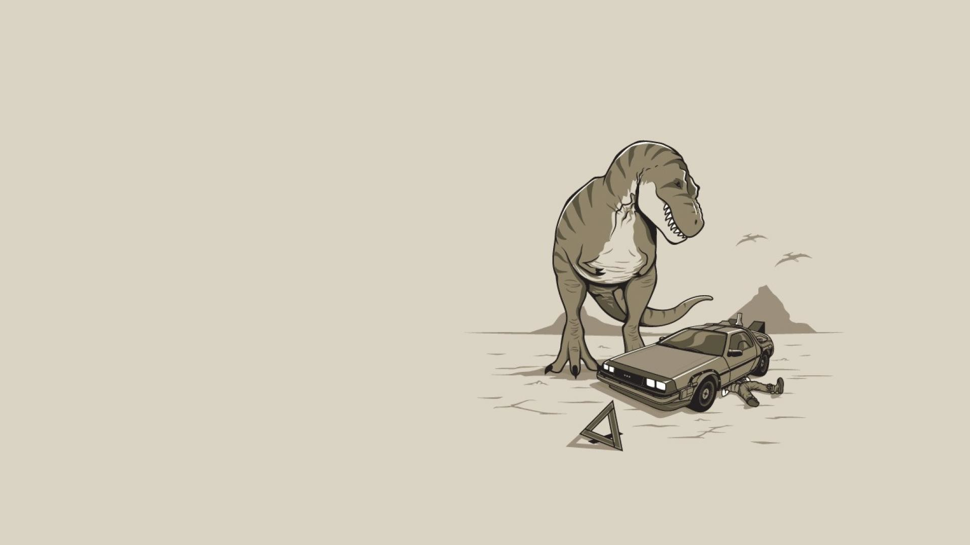 1920x1080 Delorean back to the future fun art wallpaper