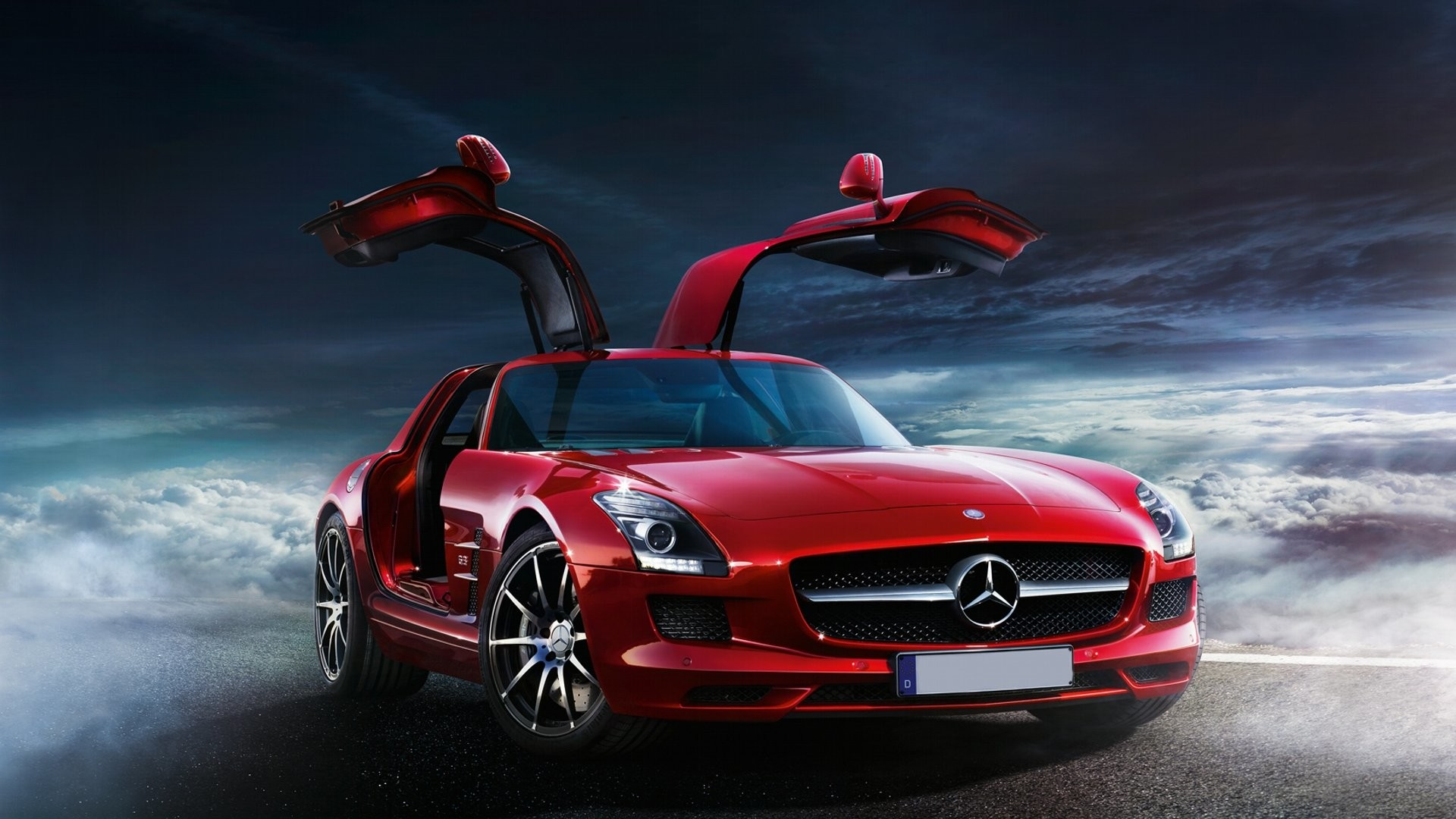 1920x1080 Red MercedesBenz SLS AMG HD desktop wallpaper High Definition 1920×1080