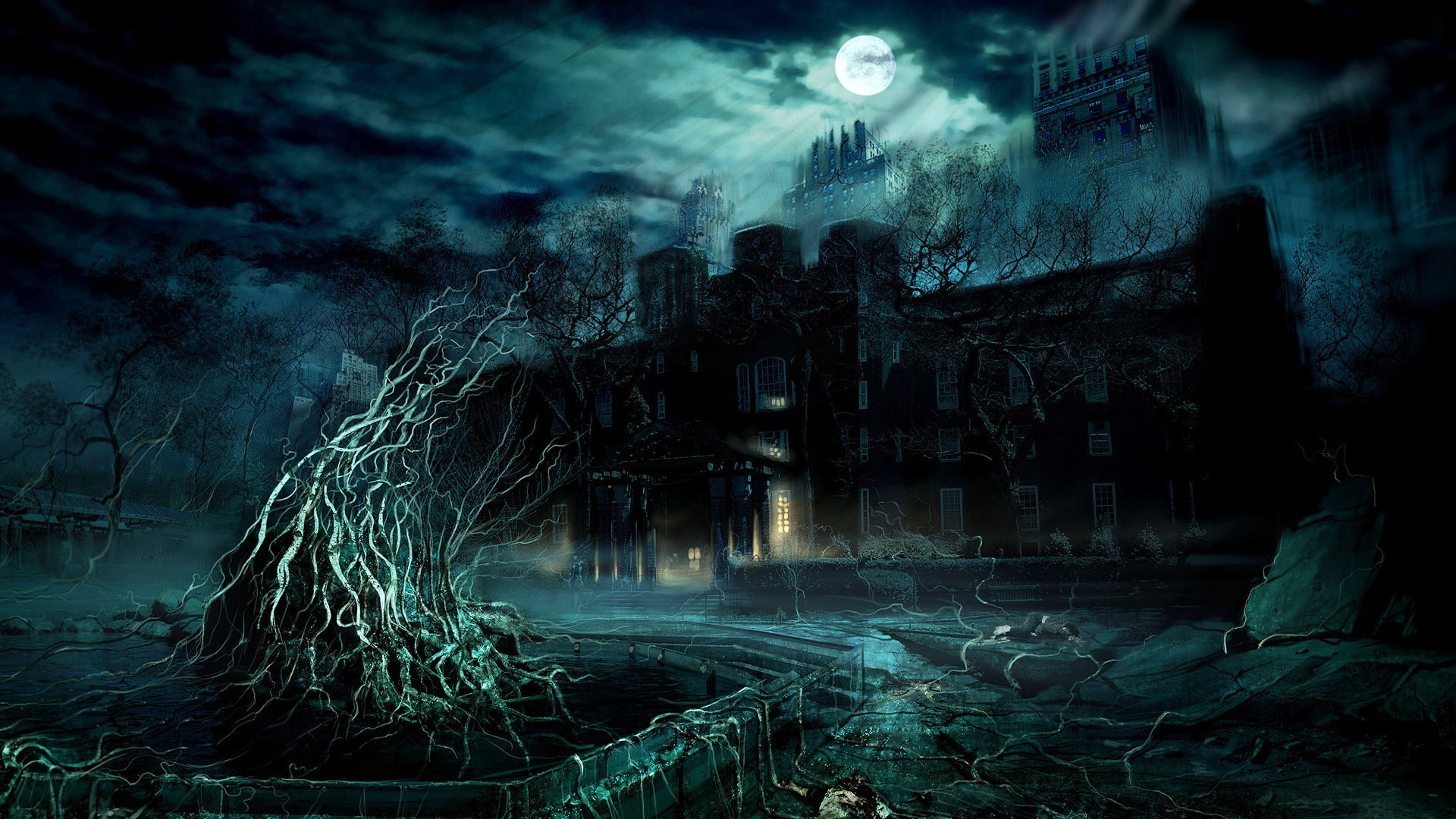 halloween monster window silhouettes