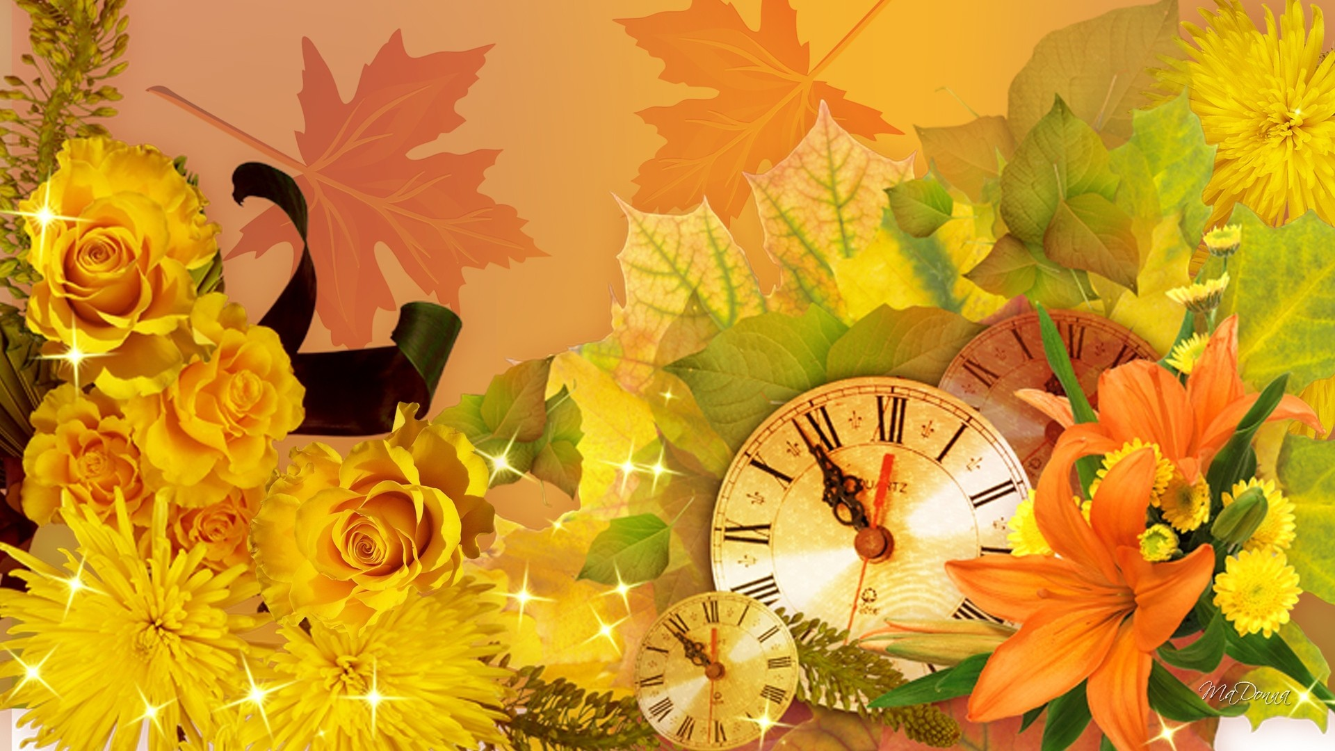 1920x1080 Flowers - Ribbon Roses First Astors Orange Leaves Day Gold Autumn Time  Clock Flowers Lilies Fall