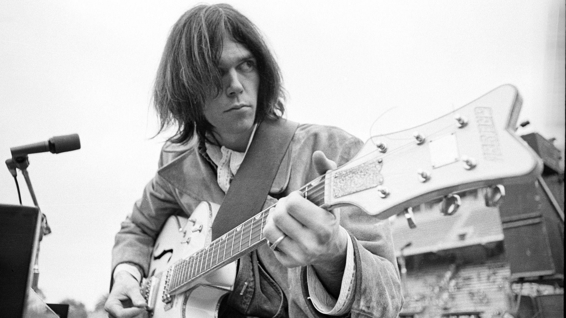 1920x1080 Download Wallpaper  Neil young, Guitar, Hair, Microphone .