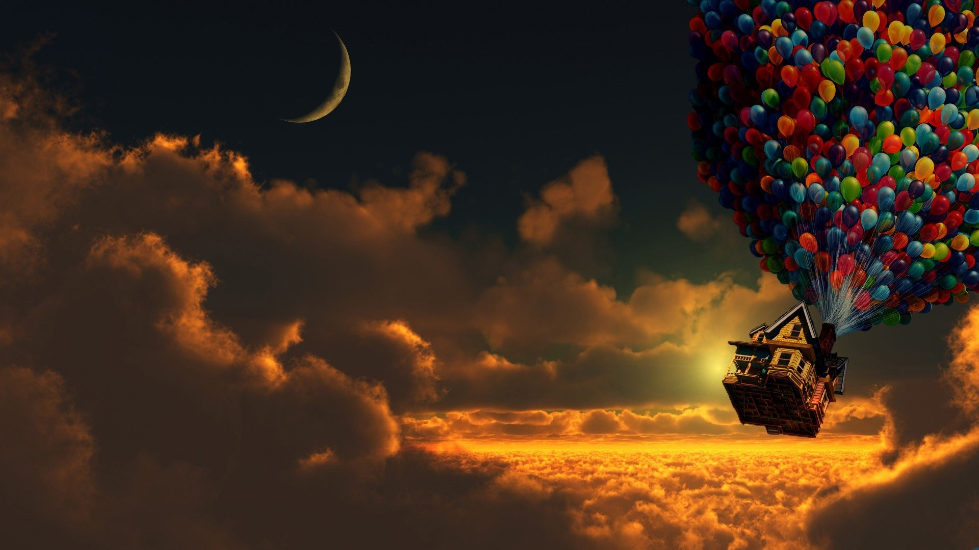 1920x1080 Artwork Balloons Clouds Digital Art Houses Moon Pixar Sunset Up Movie