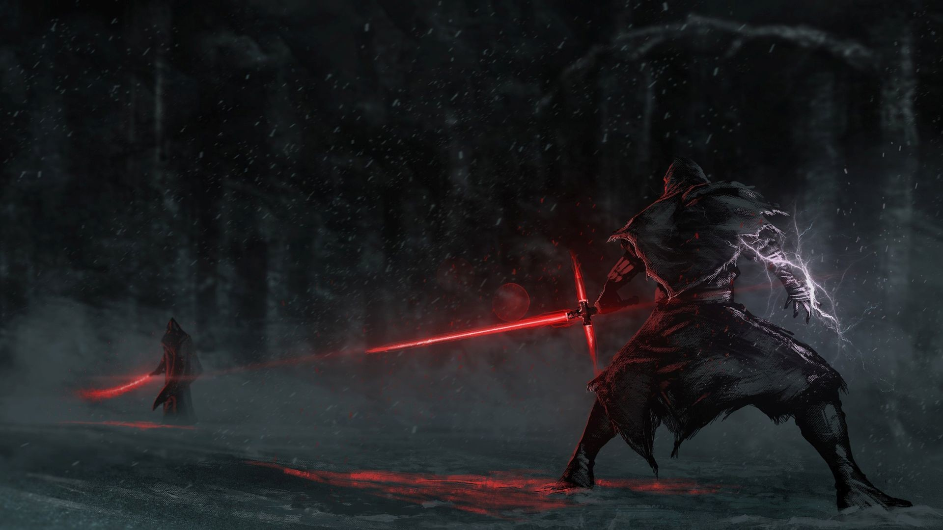 1920x1080 Fighting with lightsabers HD Wallpaper