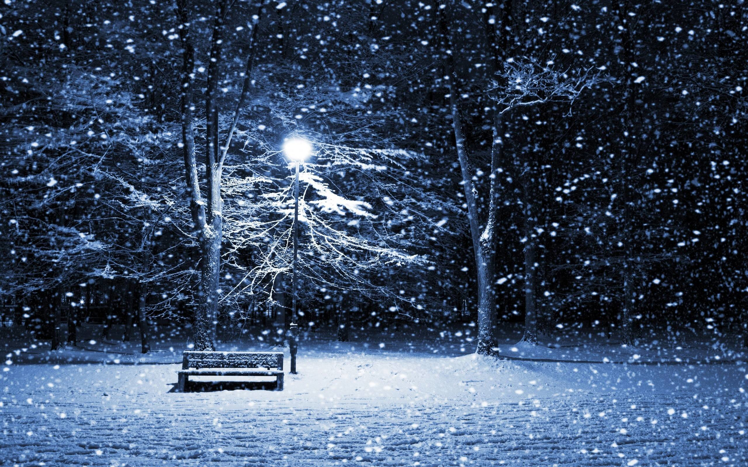 2560x1600 Xmas Stuff For Snowy Christmas Night Wallpaper