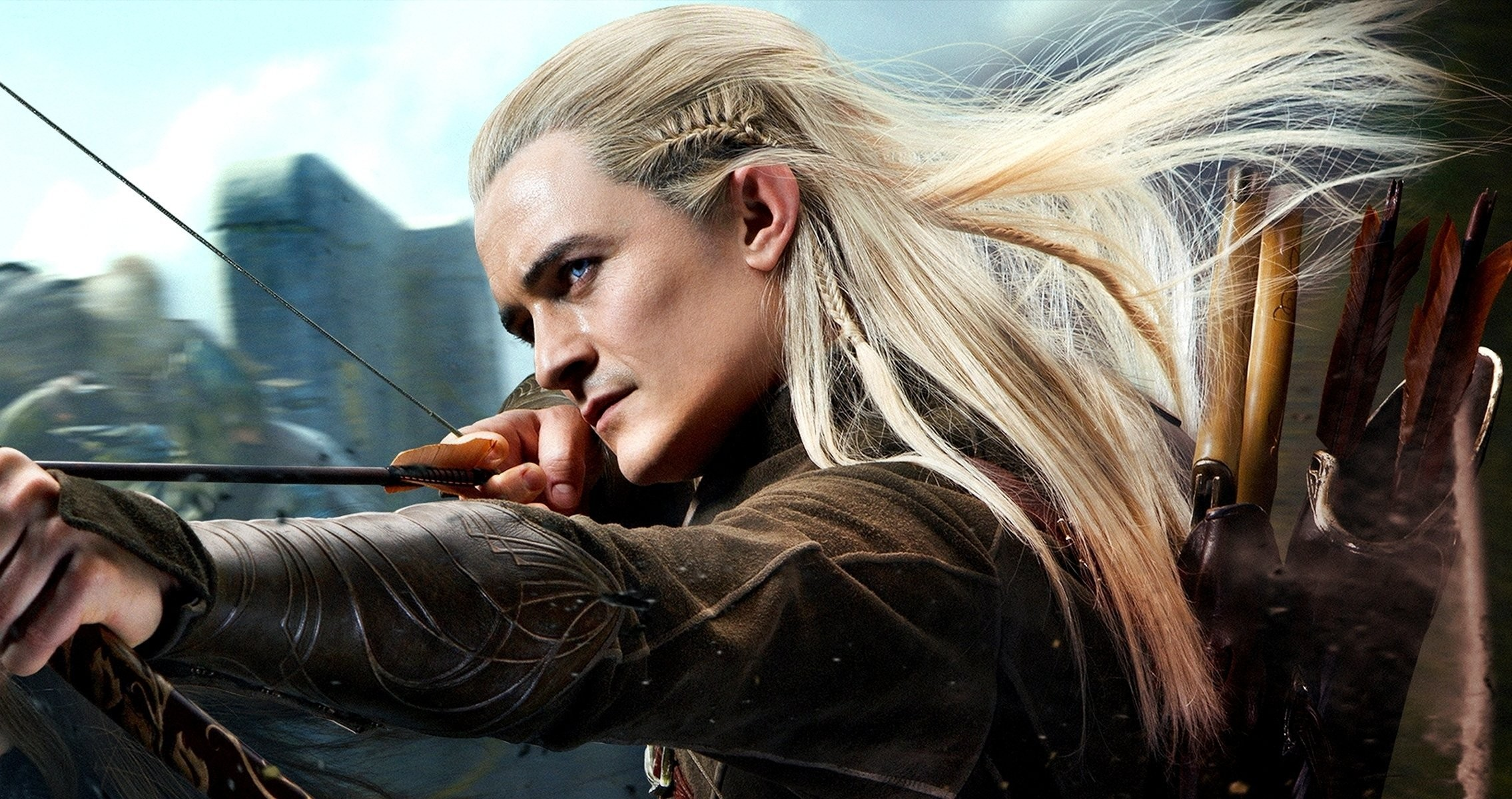 2270x1200 ... hobbit: the desolation of smaug orlando bloom elf archer legolas  mirkwood hobbies or there and back torment boom quiver shot forest mirkwo  HD wallpaper