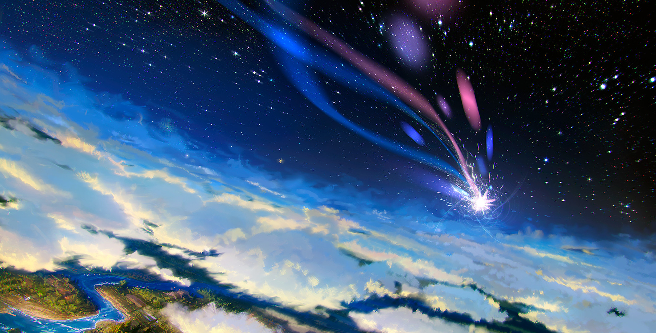 2124x1080 Movie - Howl's Moving Castle Sky Stars Cloud Landscape Shooting Star  Wallpaper