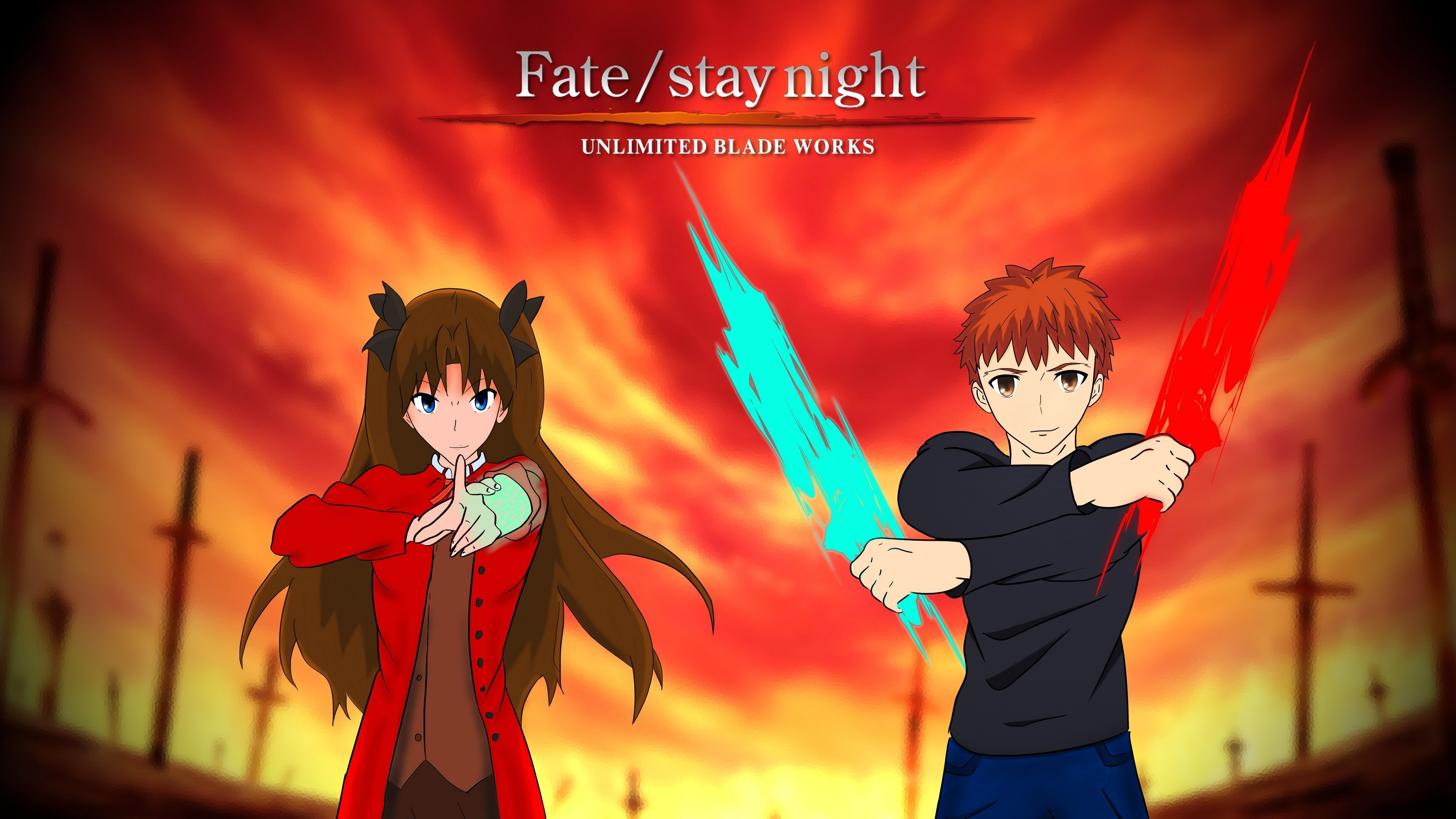 3840x2160 Stay Night Unlimited Blade Works Shirou Emiya Rin Tohsaka Wallpaper
