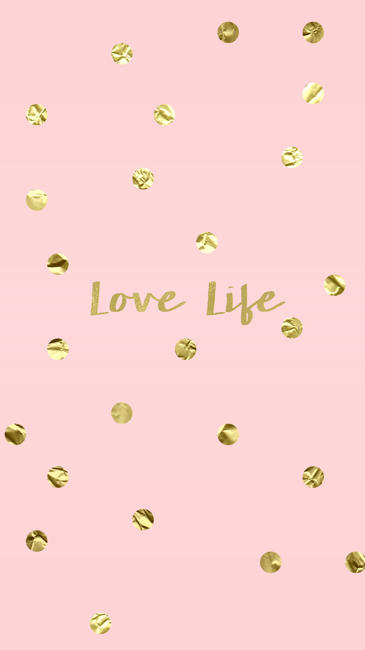 1242x2208 Love Life Blush Pink Gold iPhone Wallpaper Background