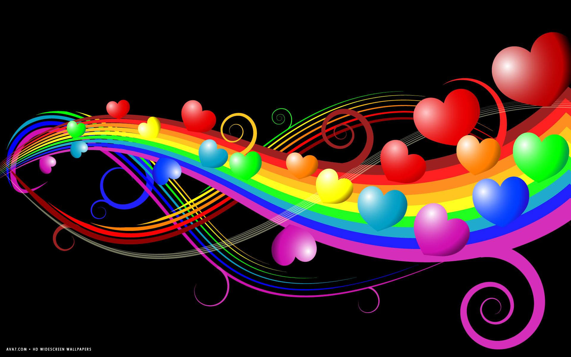 1920x1200 heart abstract hearts rainbow colors lines hd widescreen wallpaper