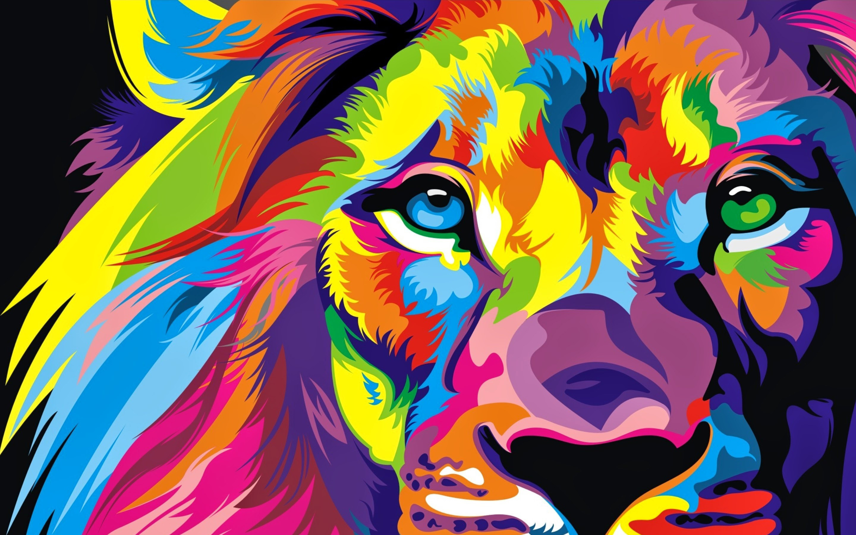 2880x1800 Lion Colorful Artwork
