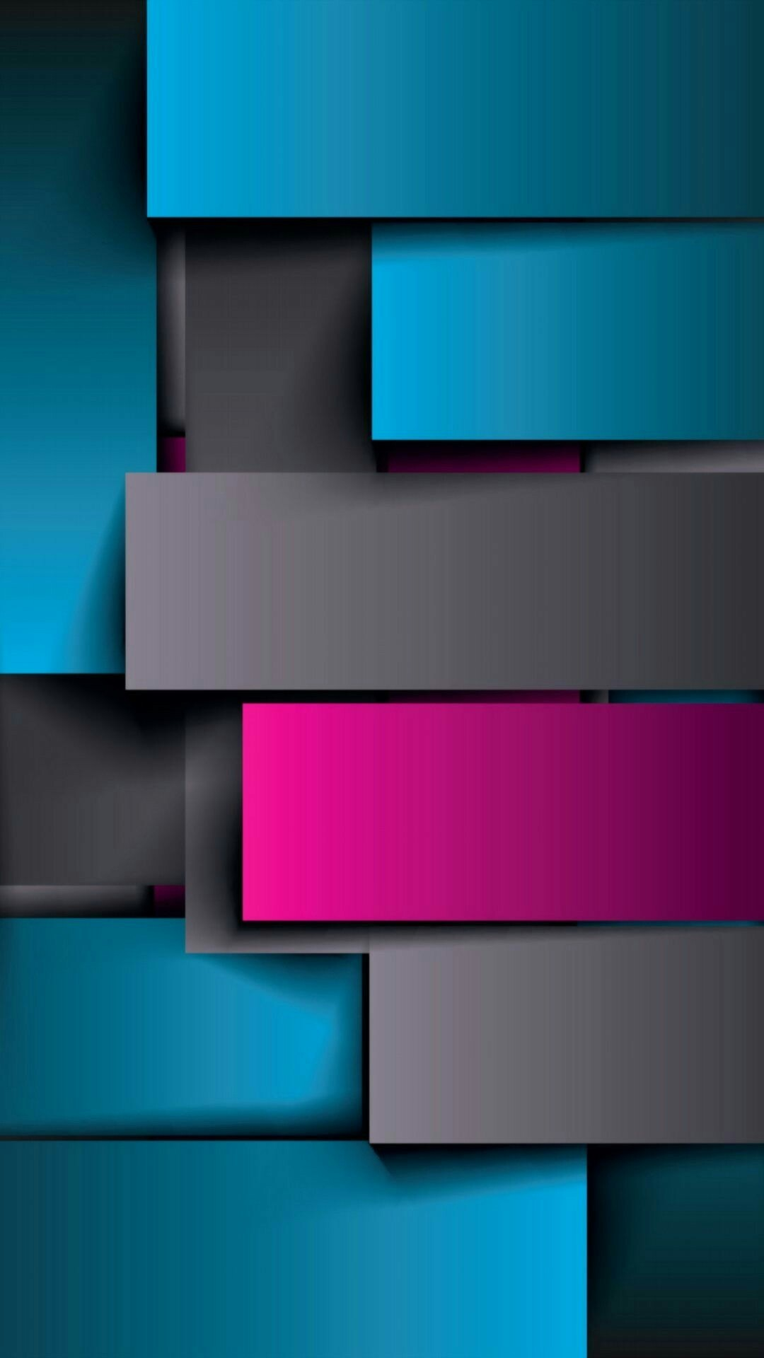 1080x1920 Teal Grey and Pink Geometric Wallpaper