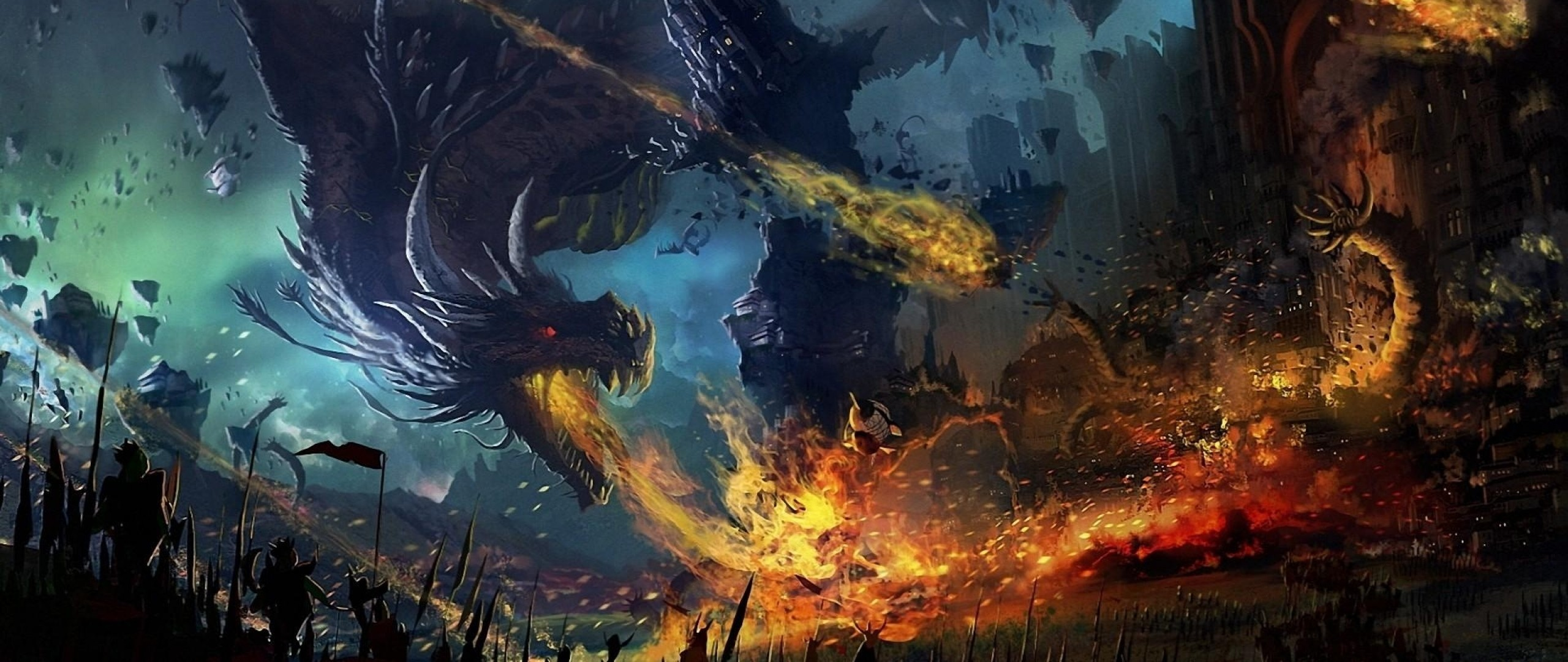 2560x1080 Preview wallpaper dragon, fall, fire, flame, war, battle