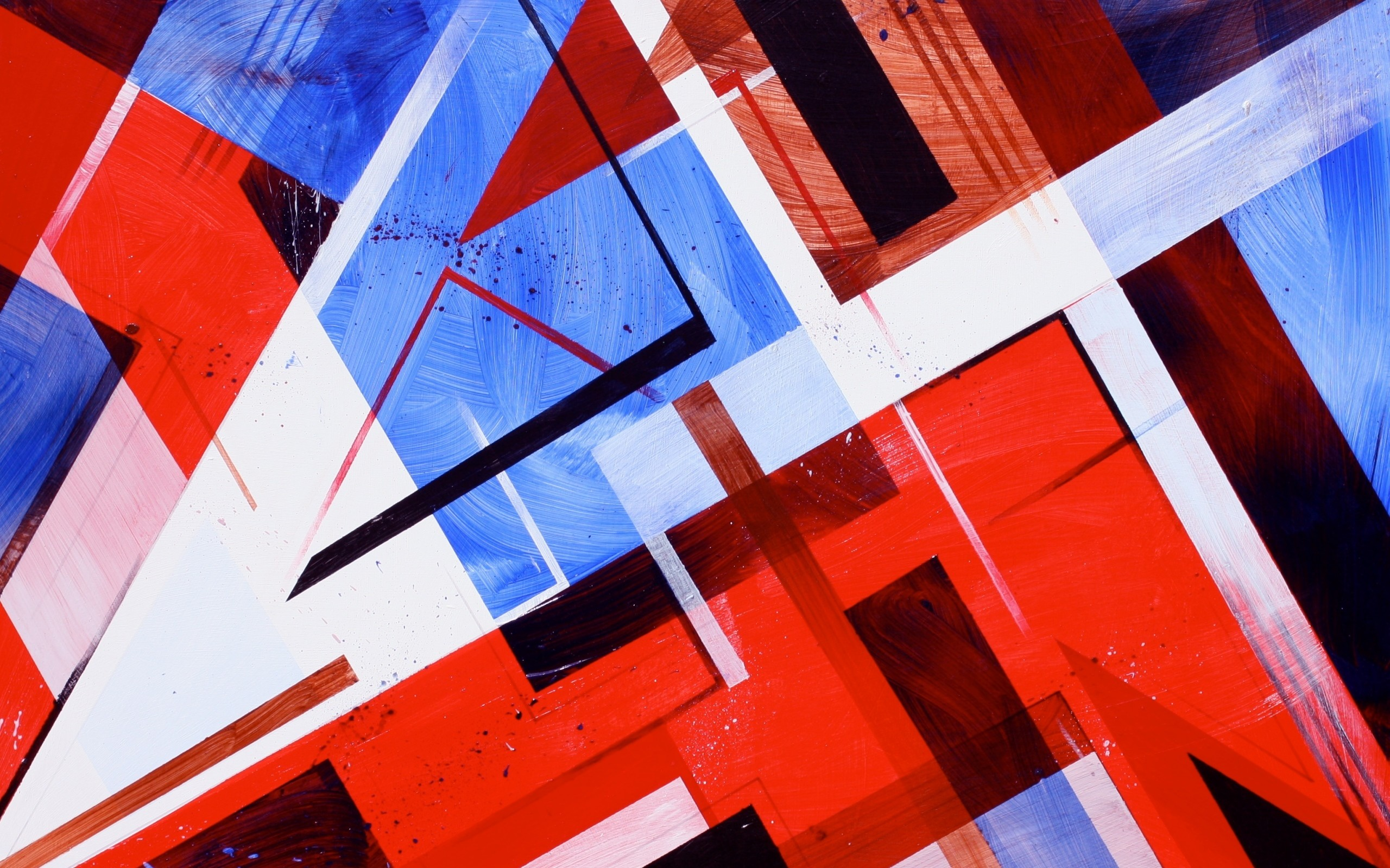 2560x1600 Red, White and Blue Abstract Shapes wallpaper