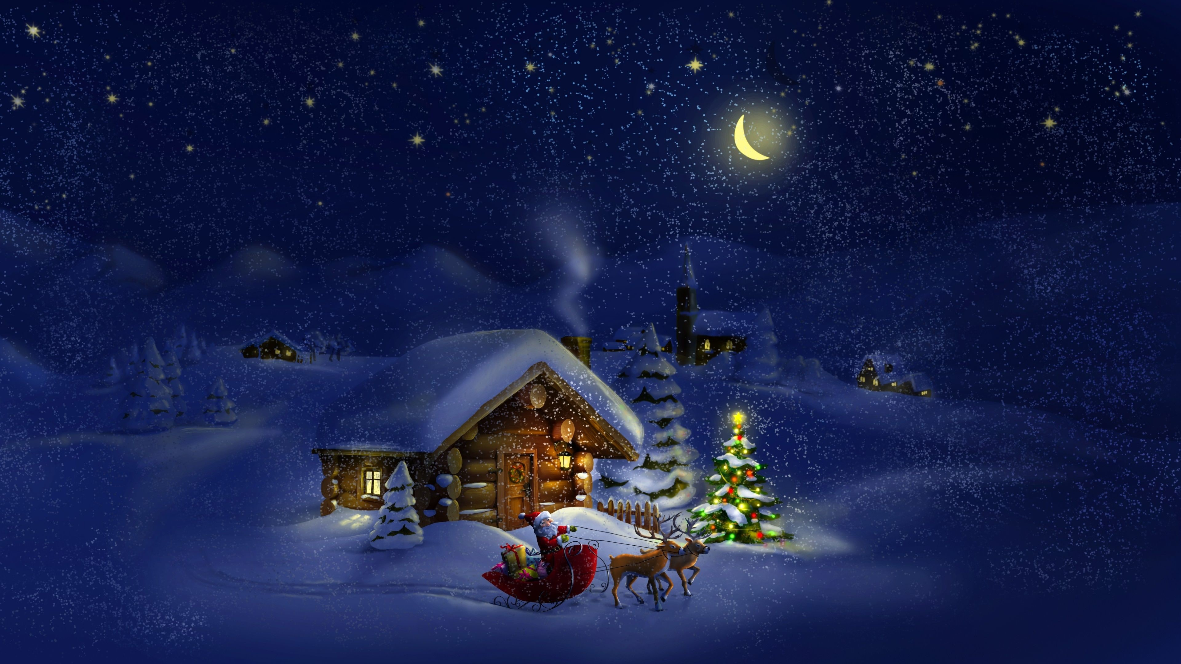 "3840x2160  Christmas Night ❤ 4K HD Desktop Wallpaper for • Dual Monitor  Desktops"">"