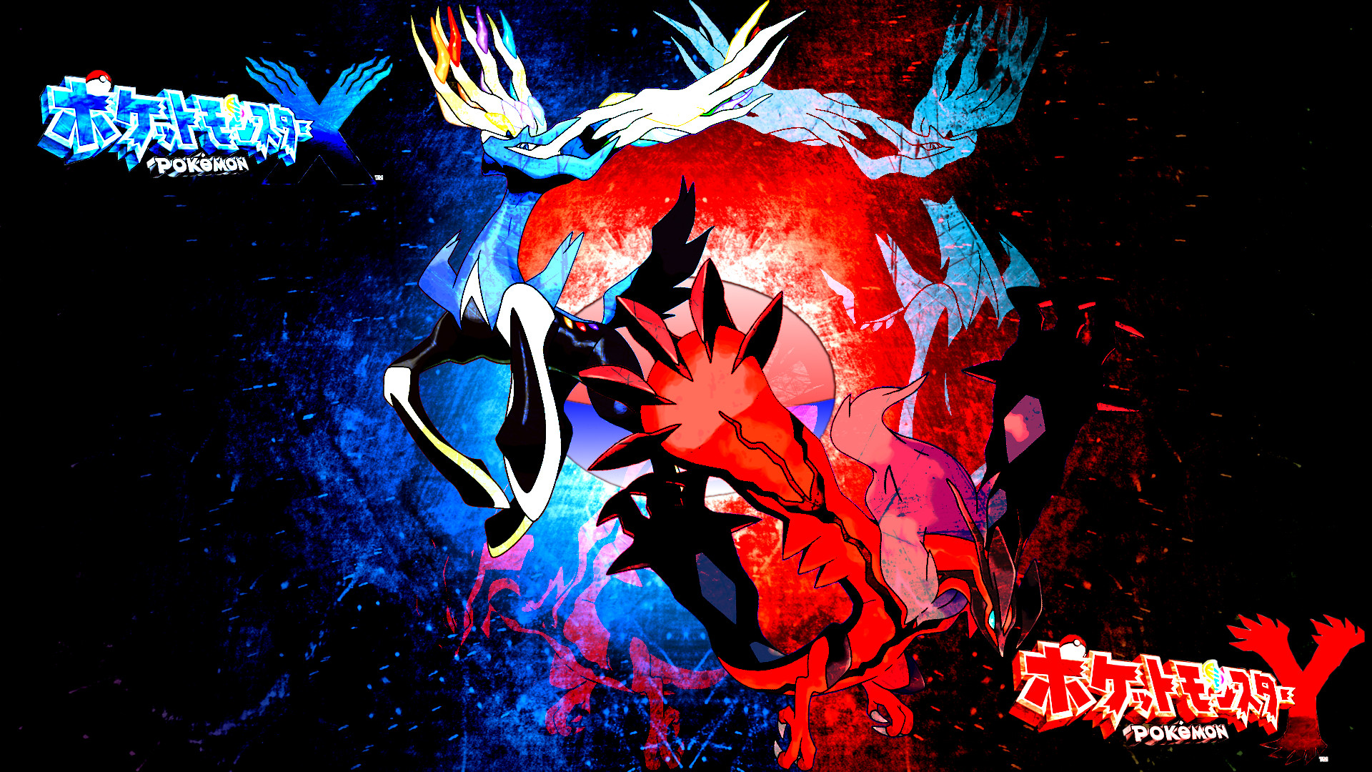 1920x1080 ... Pokemon X and Y: Xerneas and Yveltal by FRUITYNITE