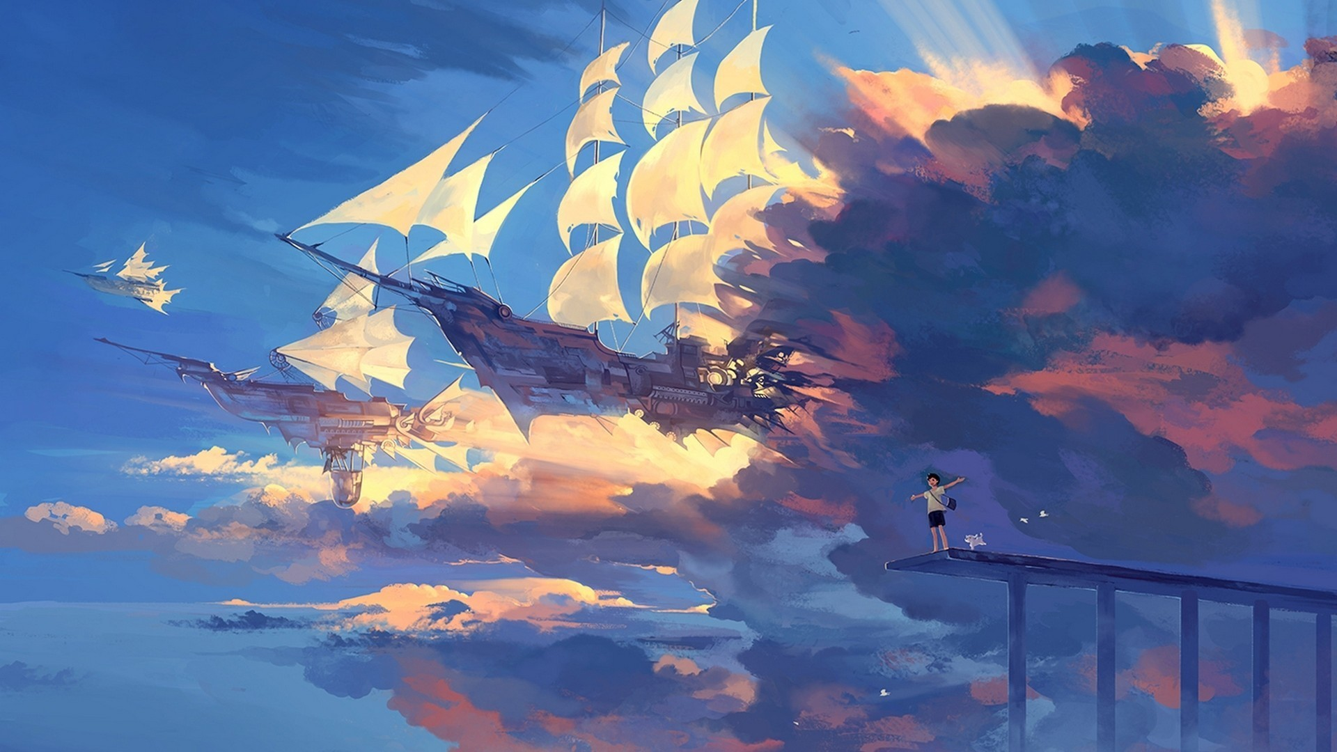 1920x1080  Wallpaper hanyijie, sky, scenery, ship, anime, art