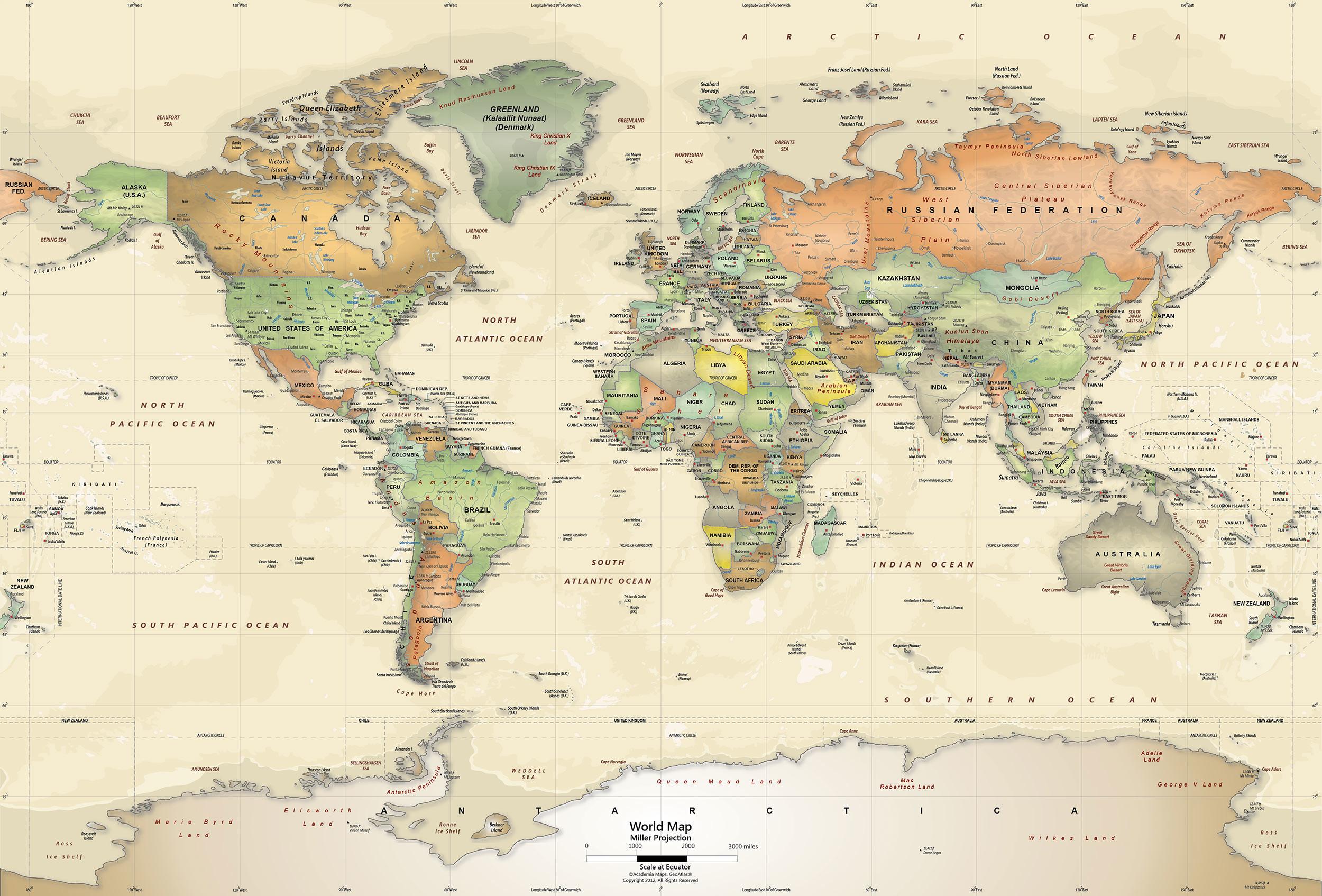 2500x1694 Antique Oceans World Political Map Wall Mural   Miller