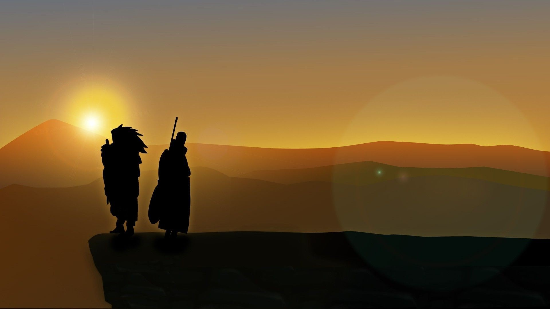 1920x1080 Naruto Shippuuden, Uchiha Madara, Uchiha Obito, Silhouette, Lens Flare,  Cliff, Tobi Wallpapers HD / Desktop and Mobile Backgrounds