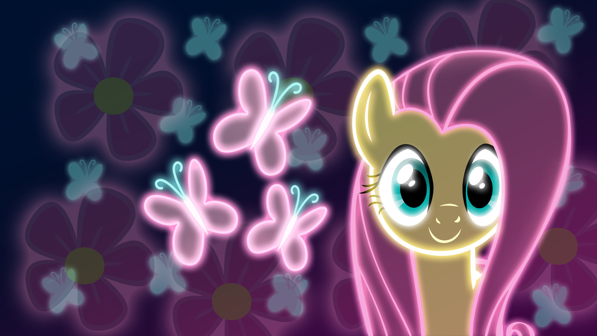 1920x1080 Neon Fluttershy Wallpaper by ~ZantyARZ on deviantART