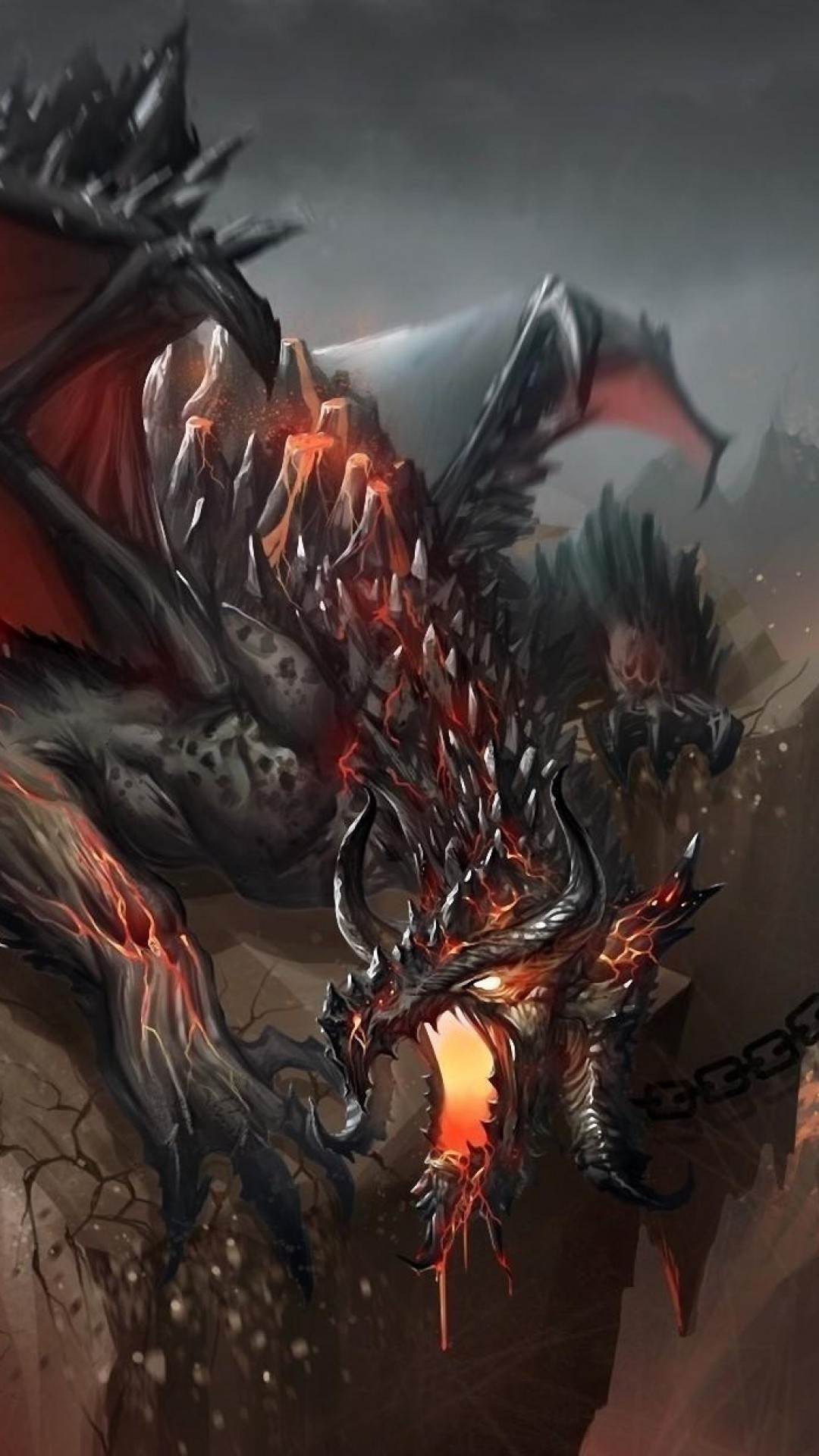 1080x1920 Preview wallpaper dragon, jaws, chains, stone, shatter