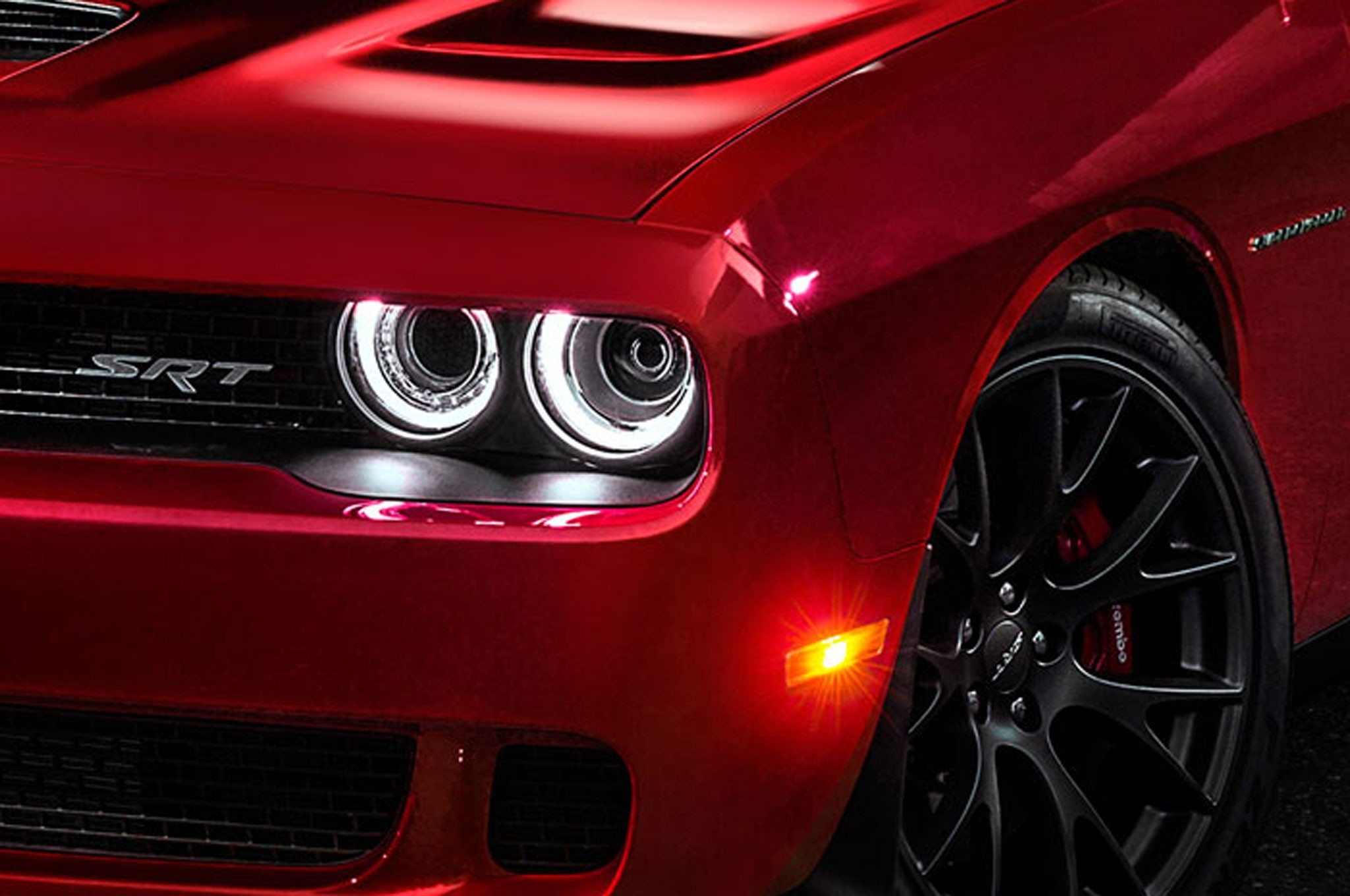 2048x1360 2015 Dodge Challenger SRT8 Hellcat Headlight Wallpaper