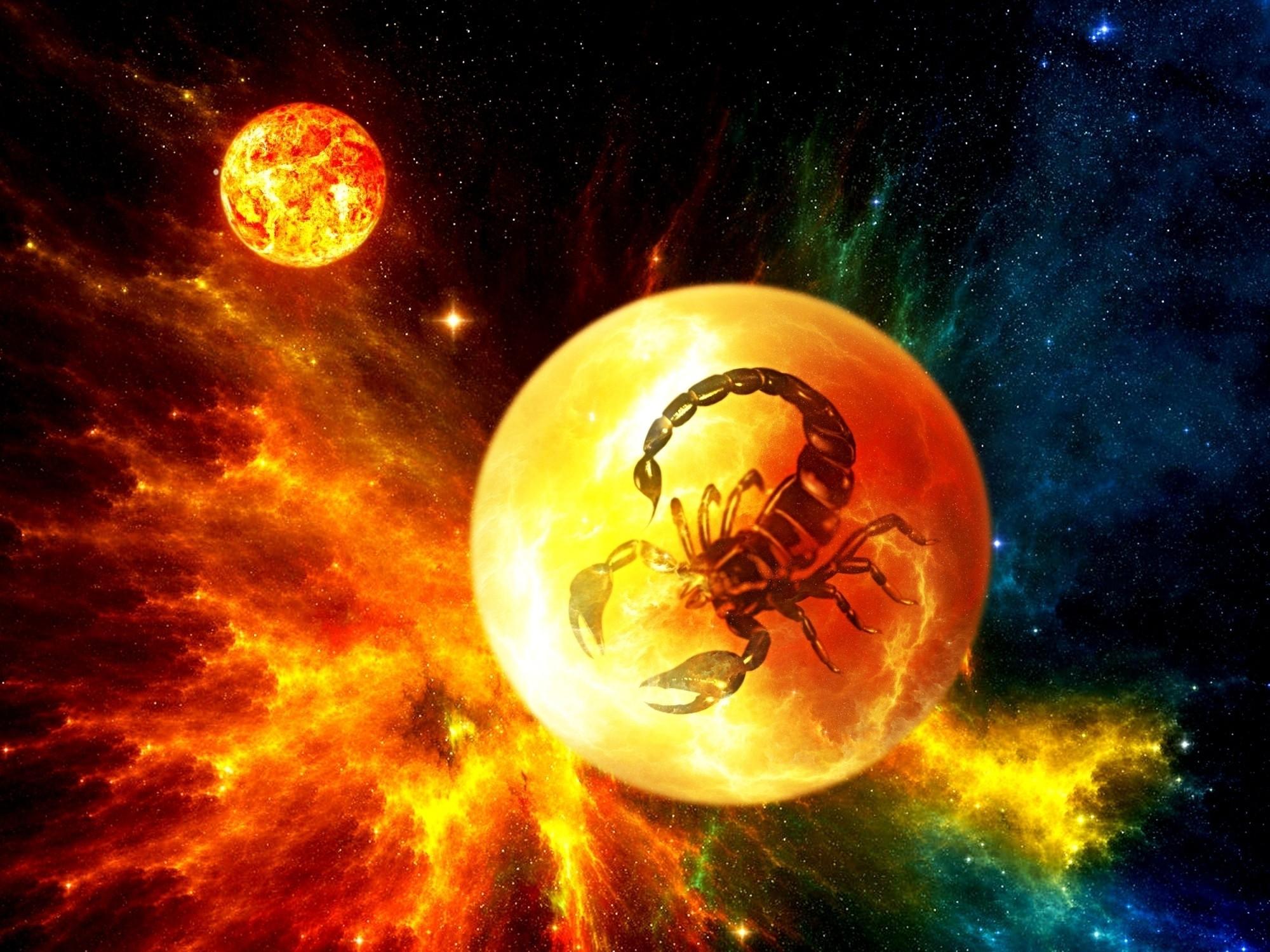 2000x1500 scorpio sci-fi zodiac planets cg nebula stars space wallpaper .