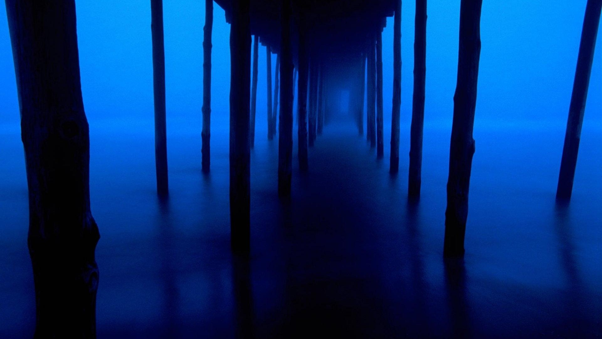 1920x1080 Preview wallpaper dark blue, support, bridge, mysterious