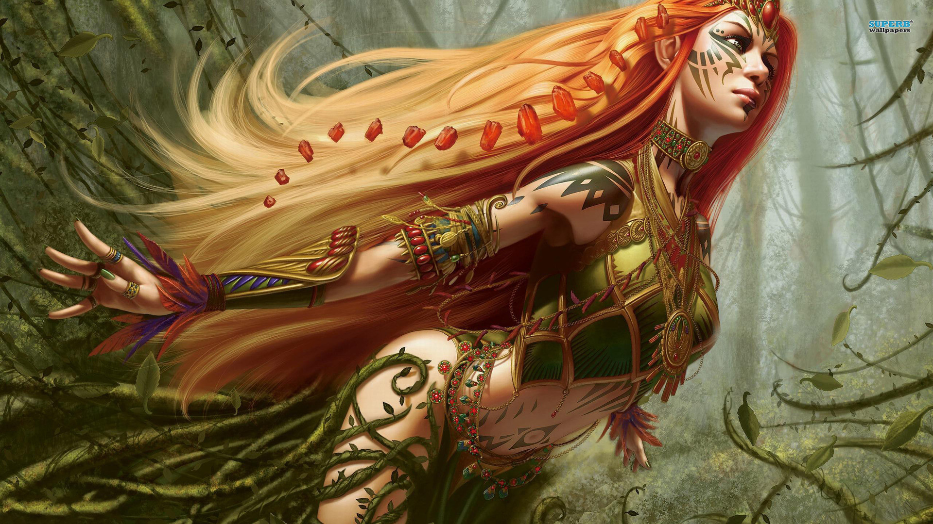 1920x1080 Artwork Fantasy Art Magic The Gathering Naya Battlemage Redheads Steve  Argyle Women free iPhone or Android Full HD wallpaper.