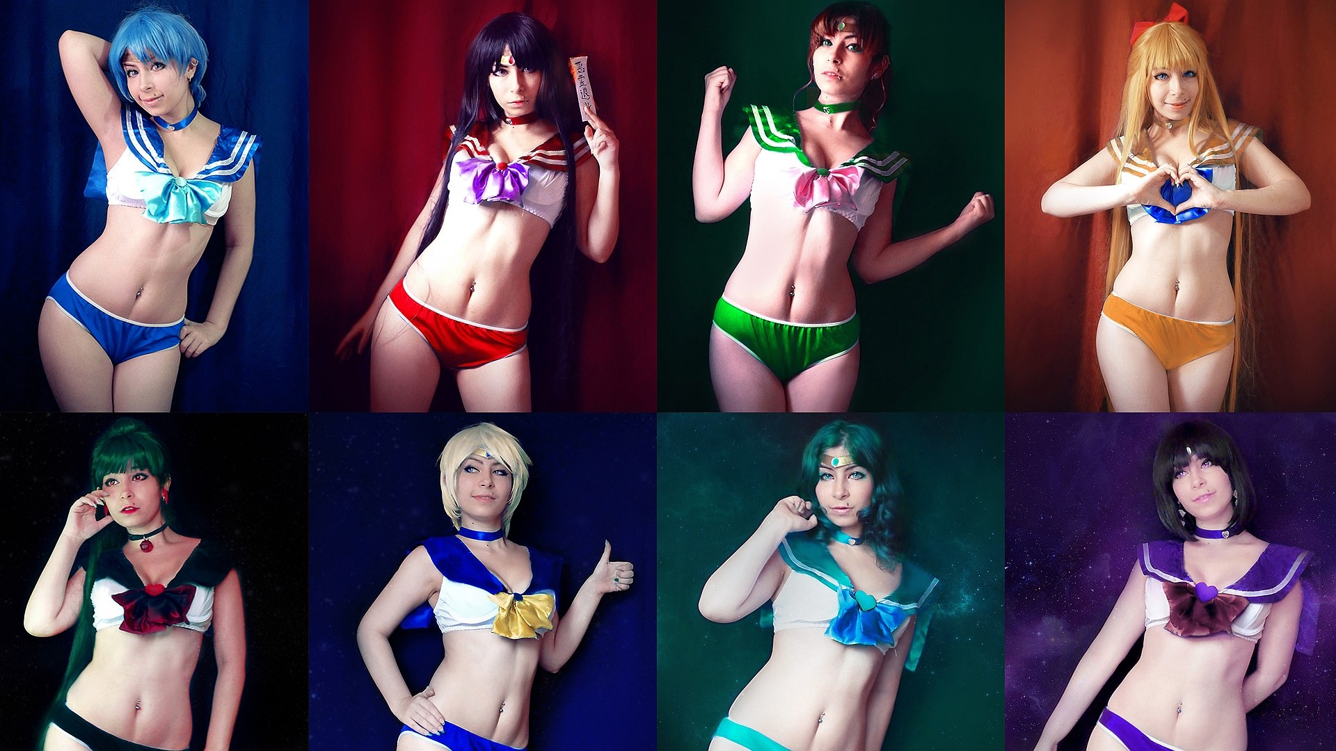 1920x1080 Wallpaper of Inner & Outer Sailor Scouts cosplay from Sailor Moon