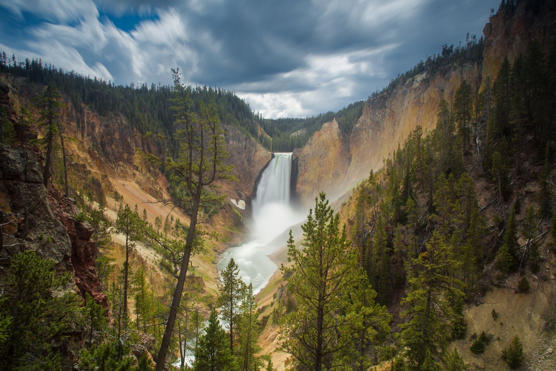 1920x1280 canyon junction wyoming usa lower falls yellowstone national park waterfall  rock forest HD wallpaper