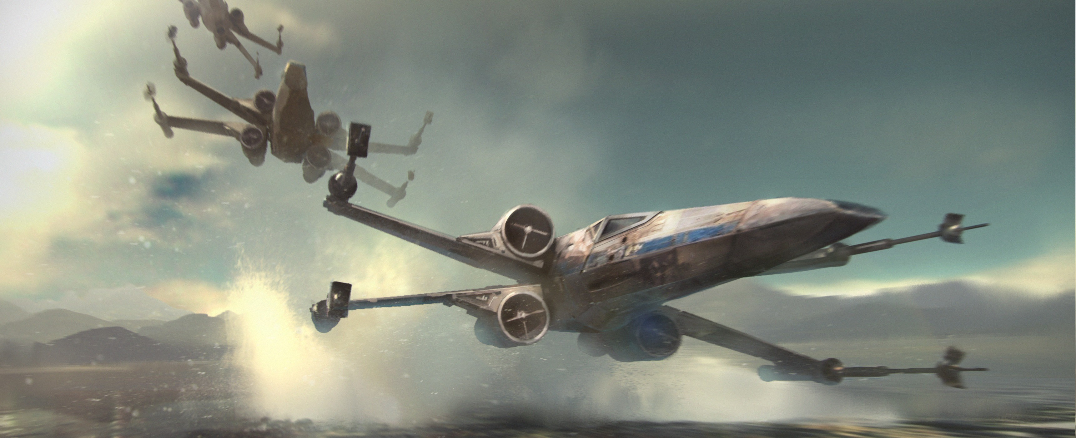3442x1403 artwork, Star Wars, Star Wars: Episode VII The Force Awakens, X wing  Wallpapers HD / Desktop and Mobile Backgrounds