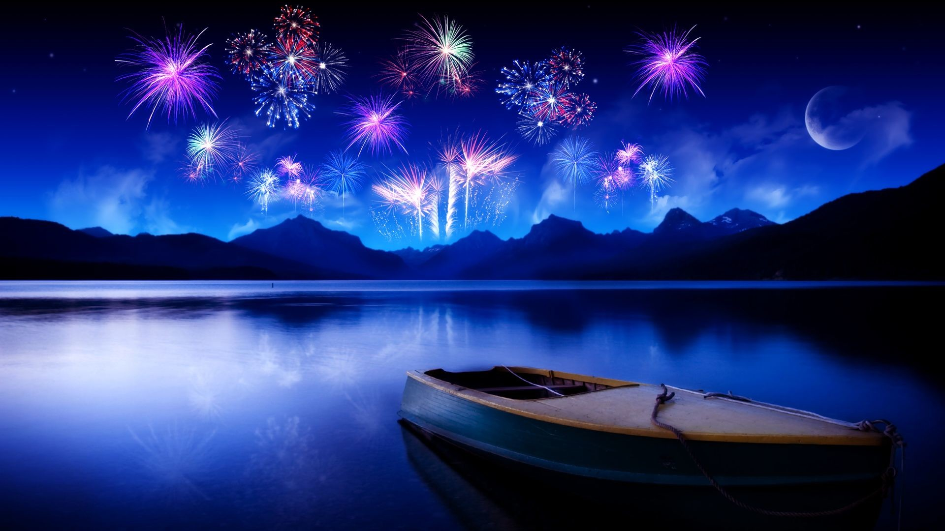 1920x1080 Fireworks Blue Lake HD Wallpaper. « »