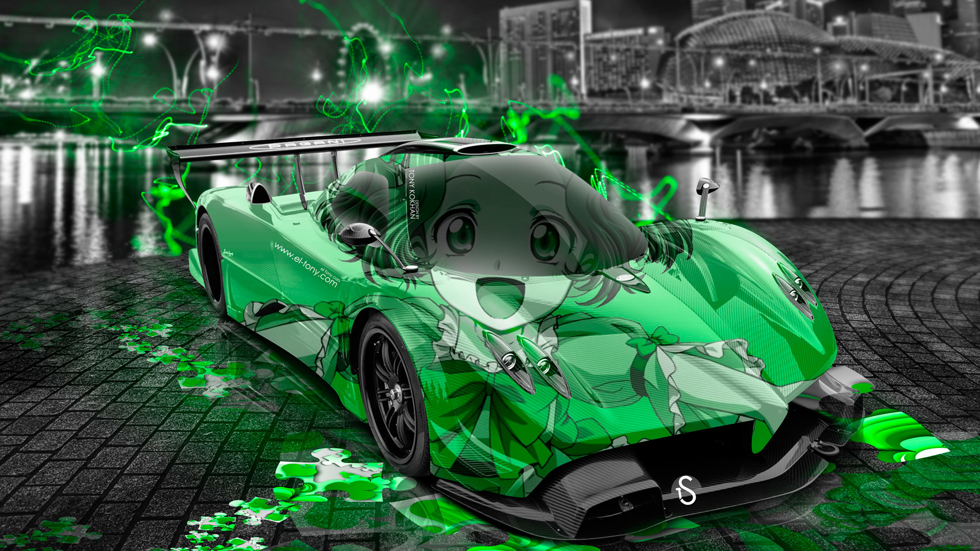 1920x1080 Pagani Zonda R Anime Aerography Girl City Car .