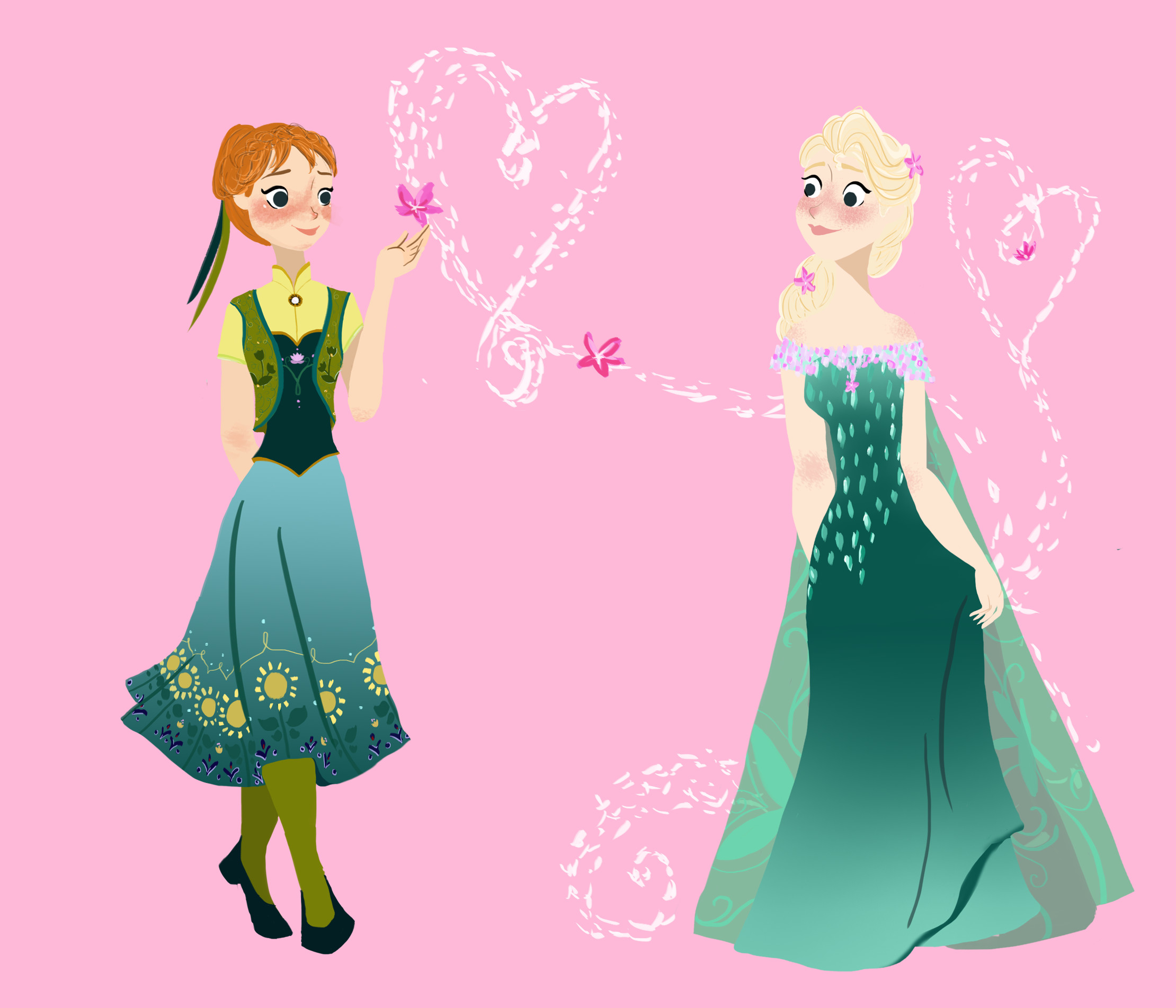 2220x1903 Elsa And Anna Frozen Fever by dminor78