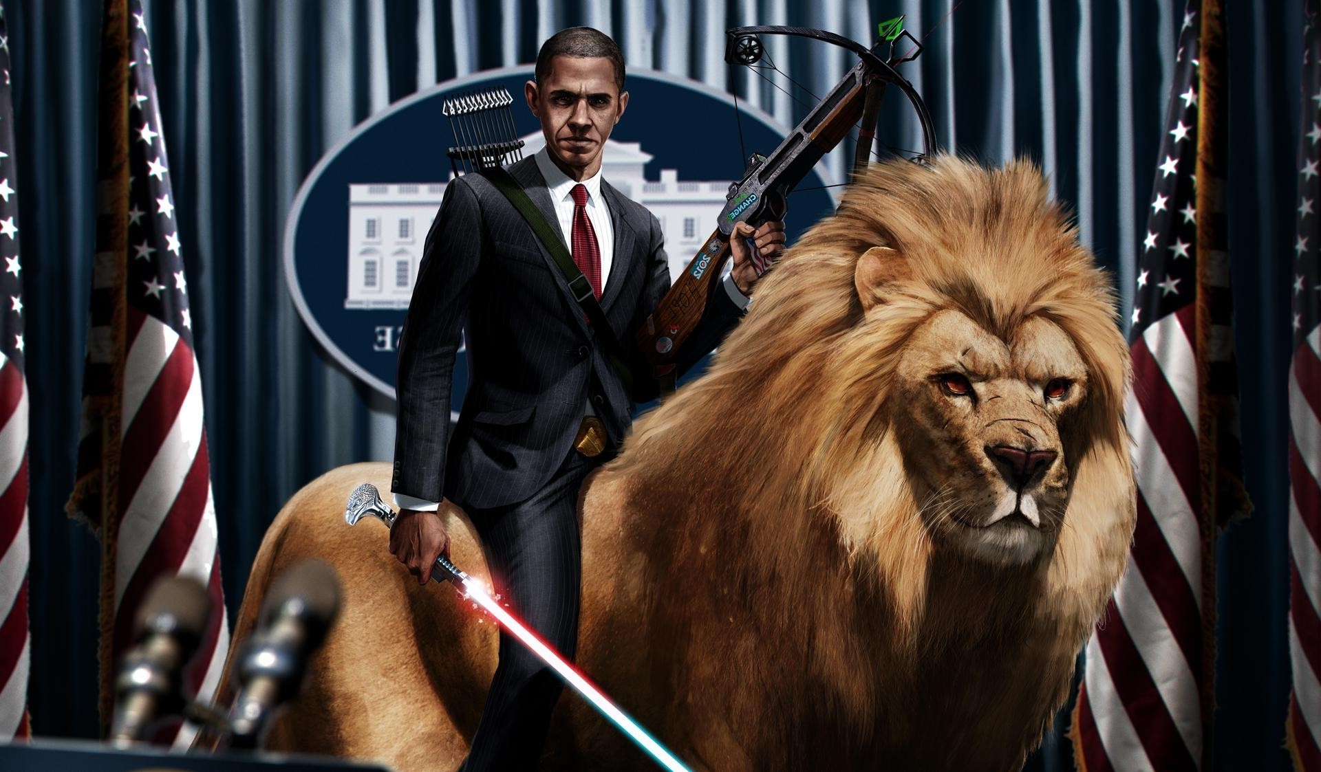 1920x1123 Barack Obama Digital Art Artwork Lightsaber Lion
