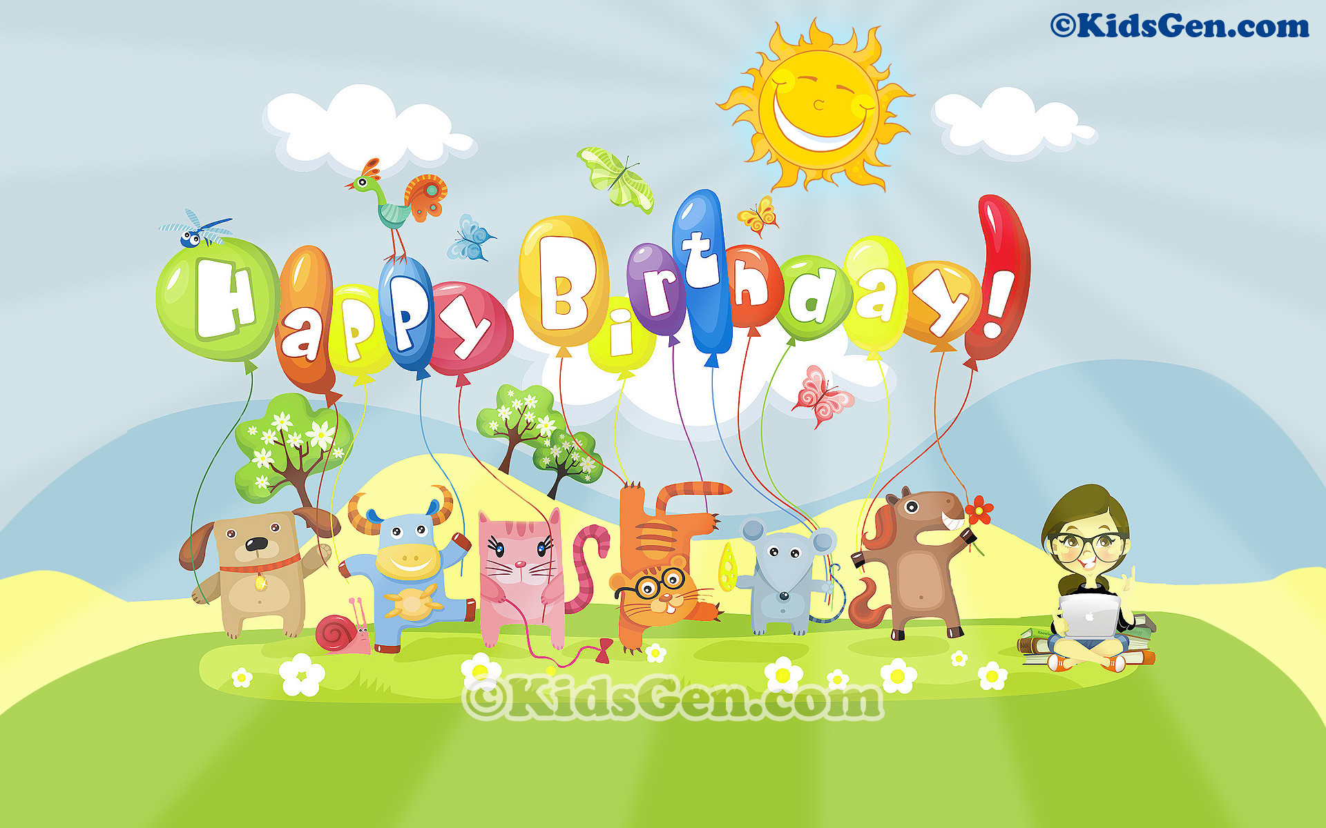 1920x1200 HD cartoon wallpaper featuring animals wishing Happy Birthday
