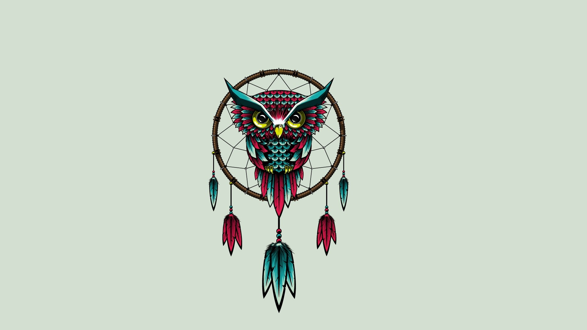 1920x1080 Preview wallpaper owl, bird, dreamcatcher, art