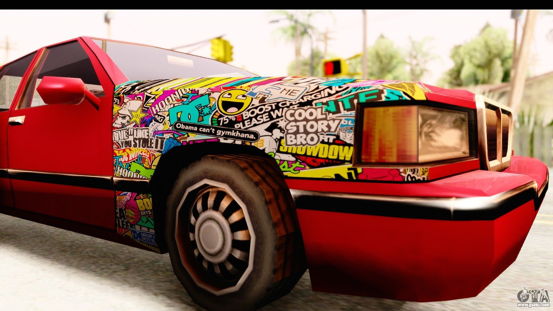 1920x1080 Elegant Sticker Bomb for GTA San Andreas back view
