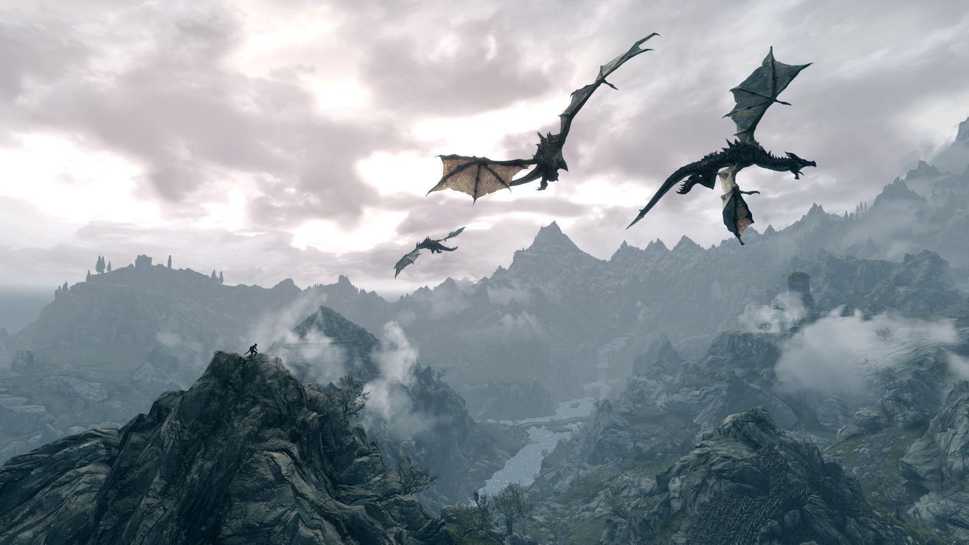 Skyrim Desktop Dragon Wallpaper  Images