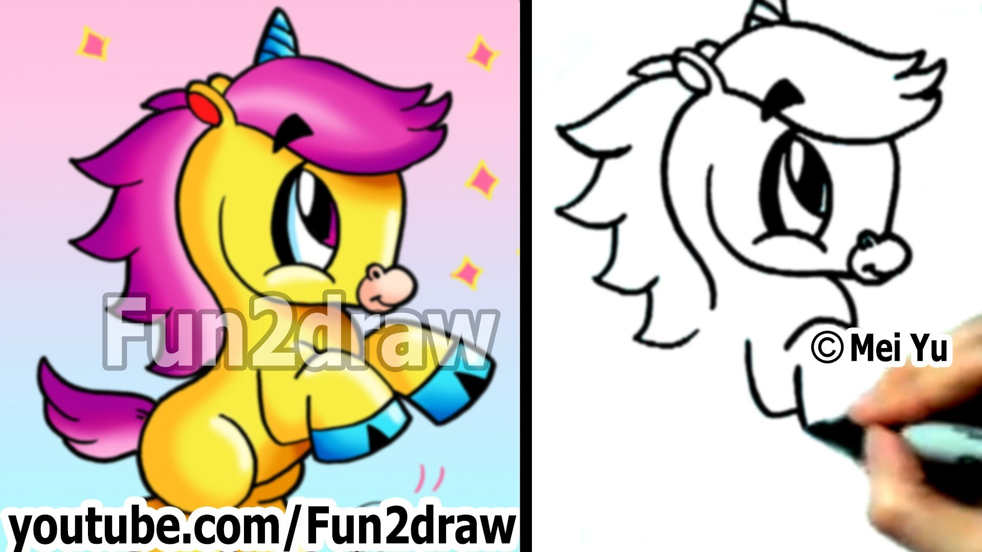 1920x1080 How to Draw Cartoon Animals : How to Draw an Unicorn - Cute Drawings -  Fun2draw - YouTube