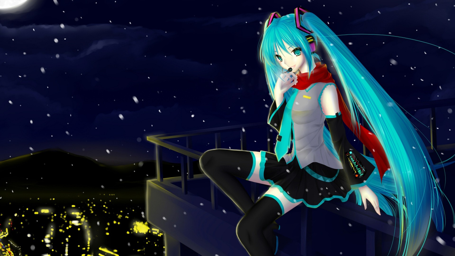 1920x1080 Preview wallpaper hatsune miku, vocaloid, night, city, girl, microphone,  scarf